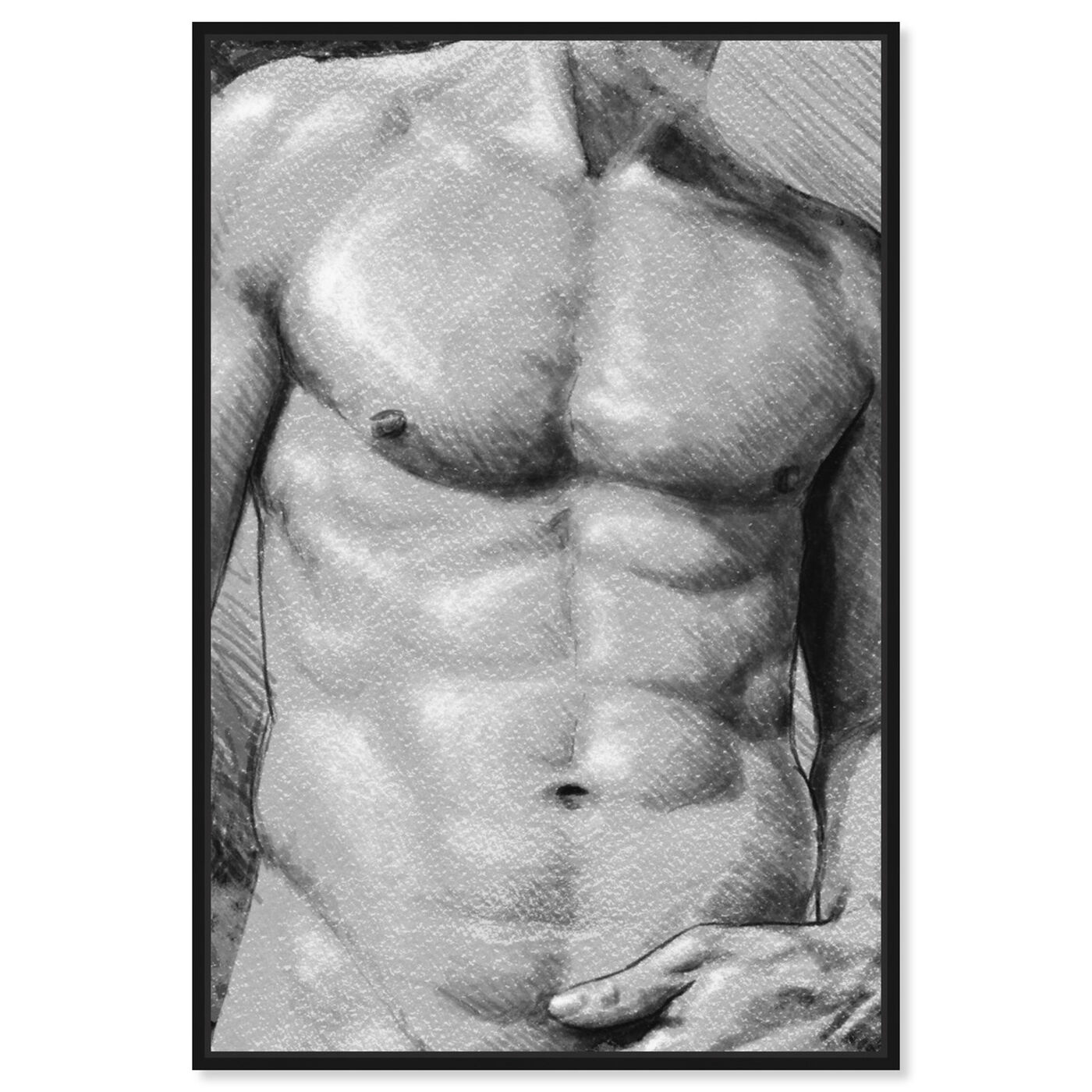 Front view of Male Torso in Gray featuring people and portraits and nudes art.
