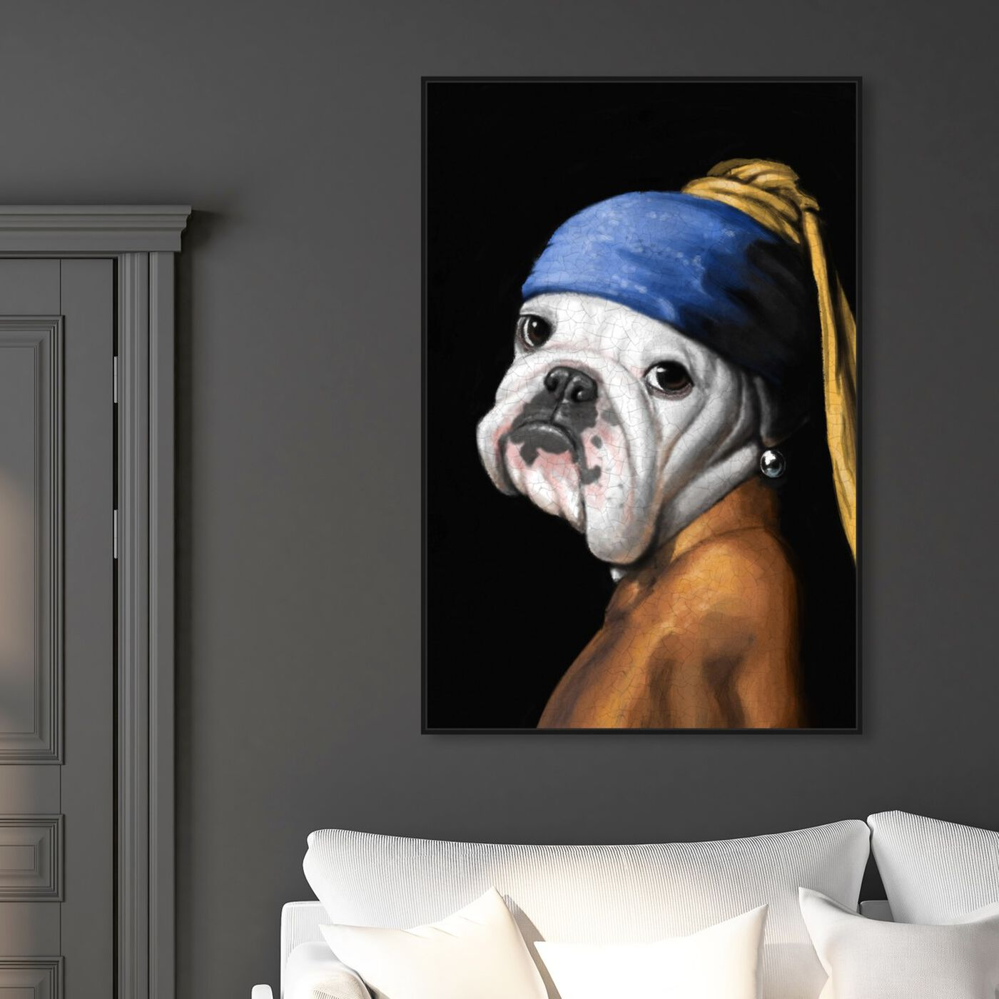 Hanging view of Dog With the Pearl Earring featuring classic and figurative and classic art.