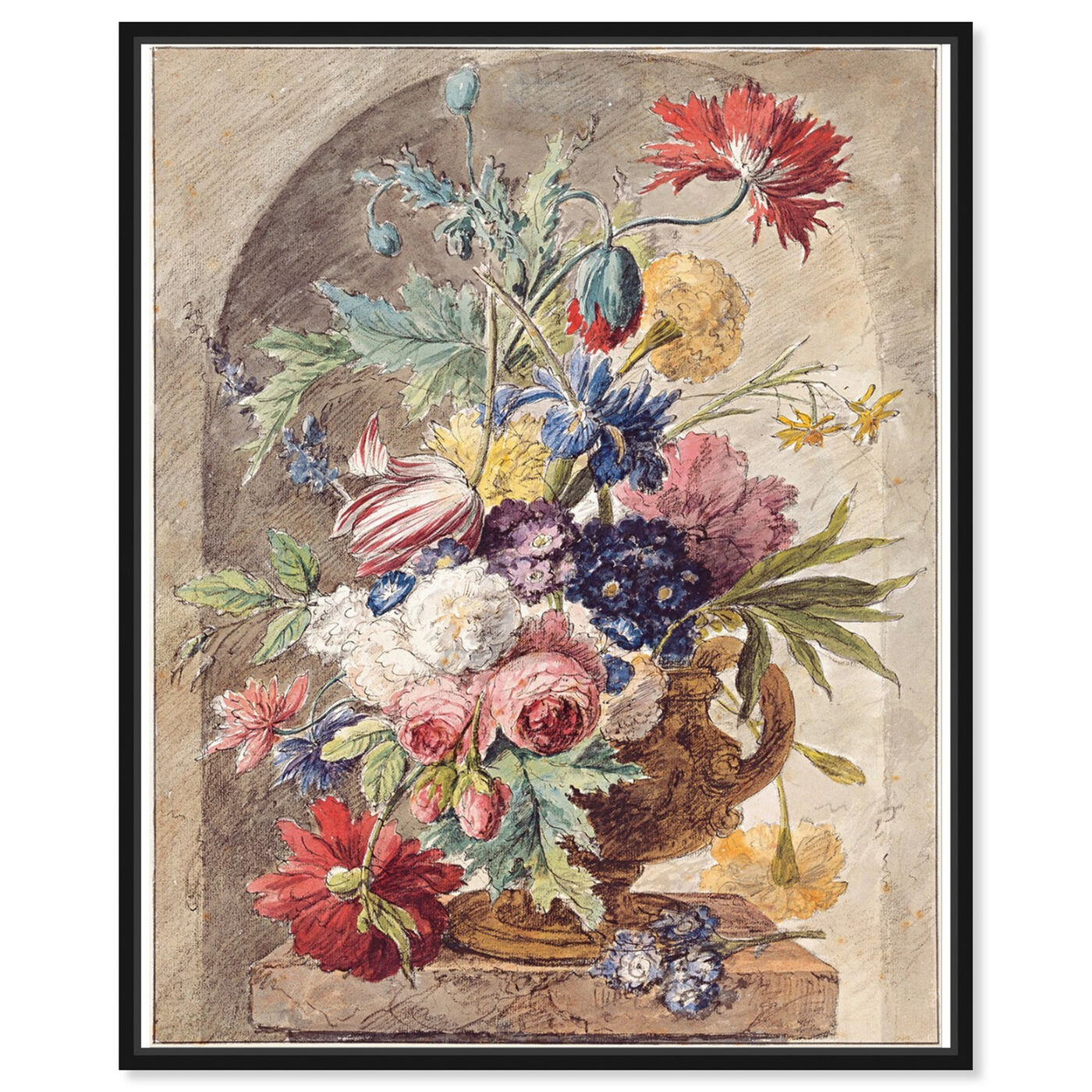 Front view of Huysum - Flower Still Life featuring classic and figurative and renaissance art.