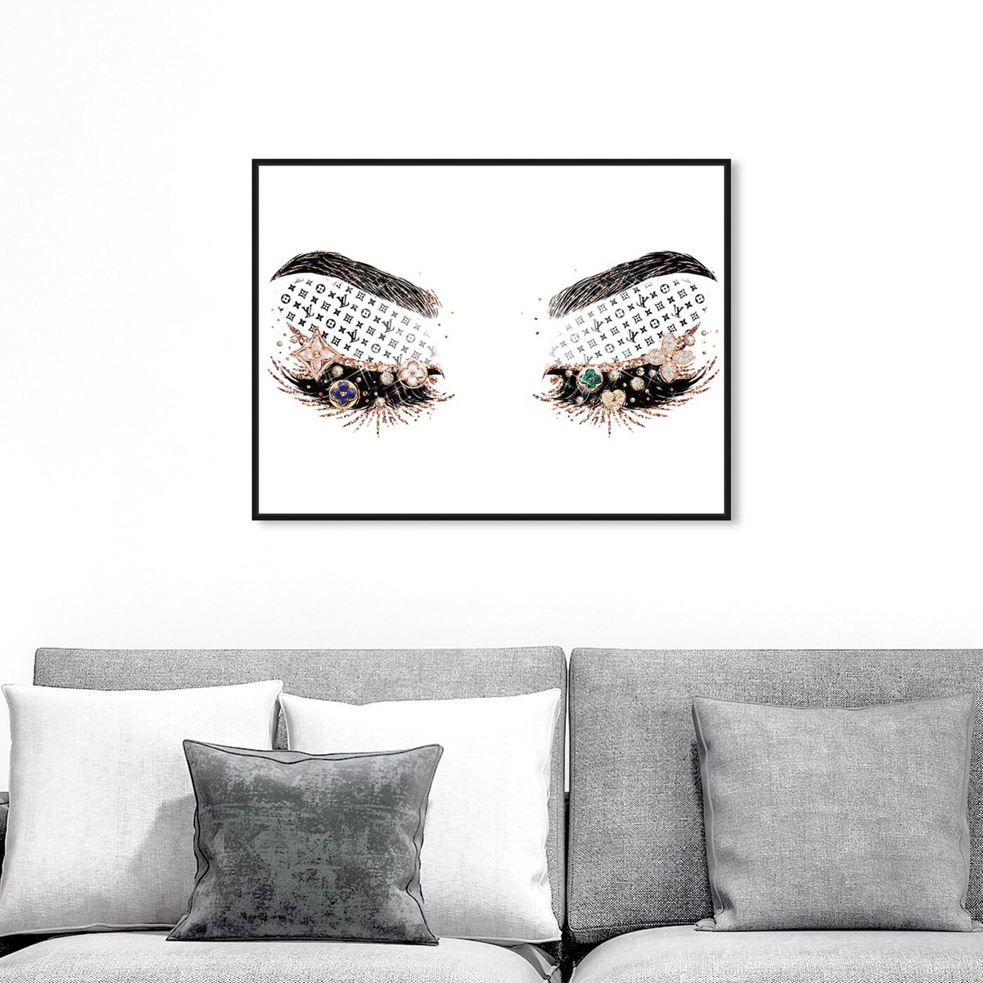 Hanging view of Louis Eyeshadows featuring fashion and glam and makeup art.