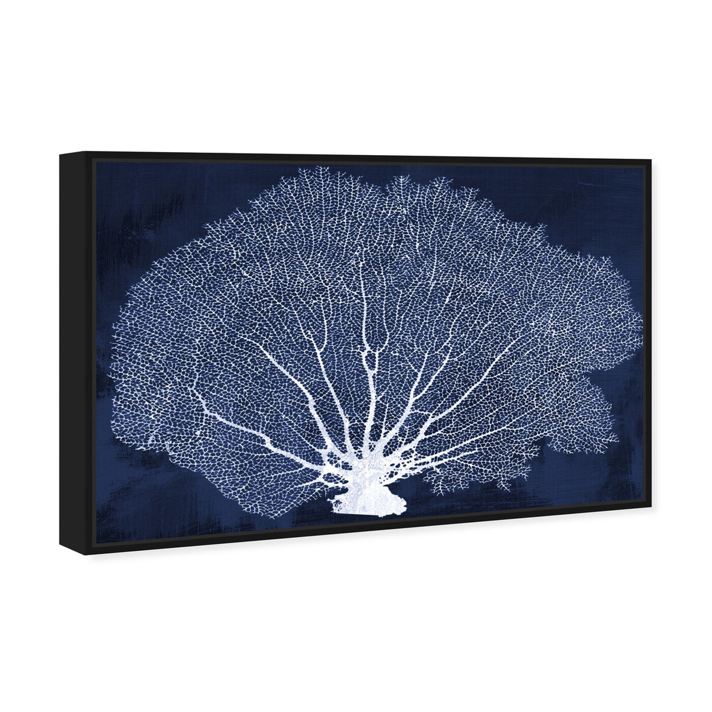 Angled view of Coral Fan Cyanotype featuring nautical and coastal and marine life art.