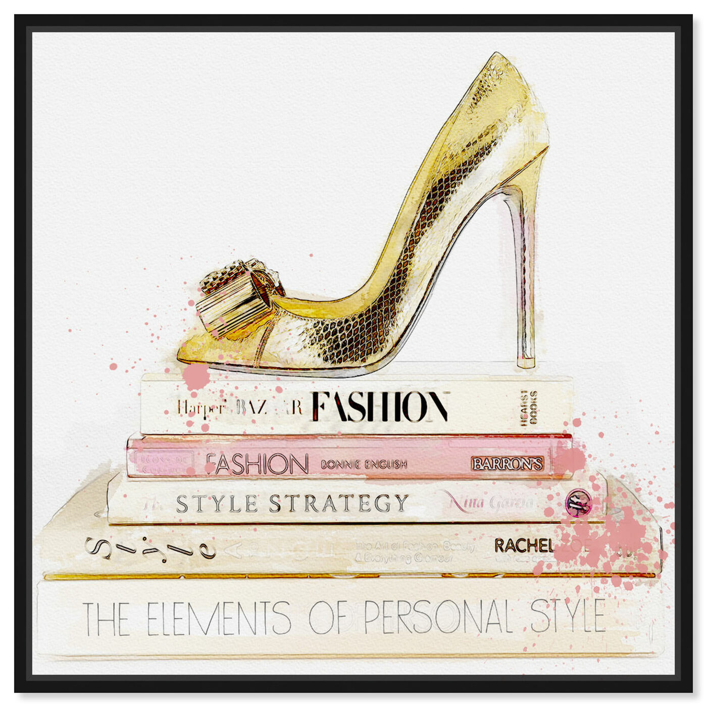Front view of Gold Shoe and Blush Books featuring fashion and glam and books art.