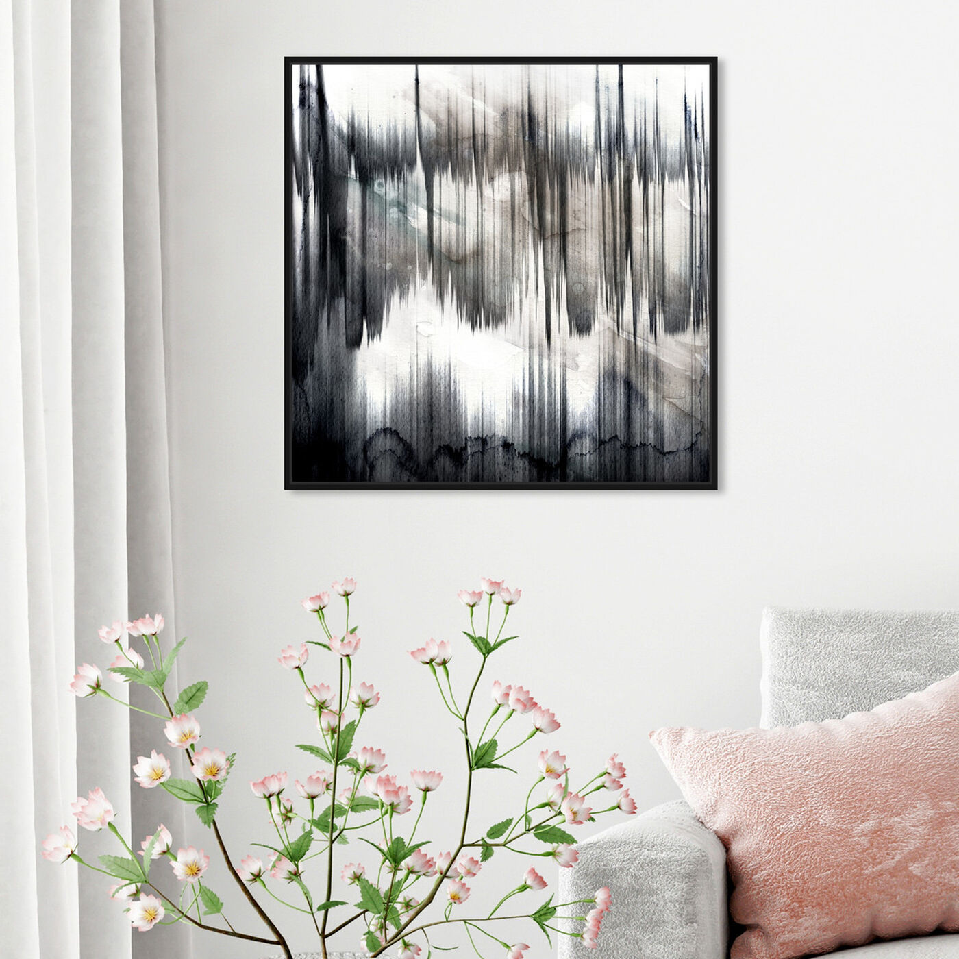 Hanging view of Pizzicato featuring abstract and watercolor art.