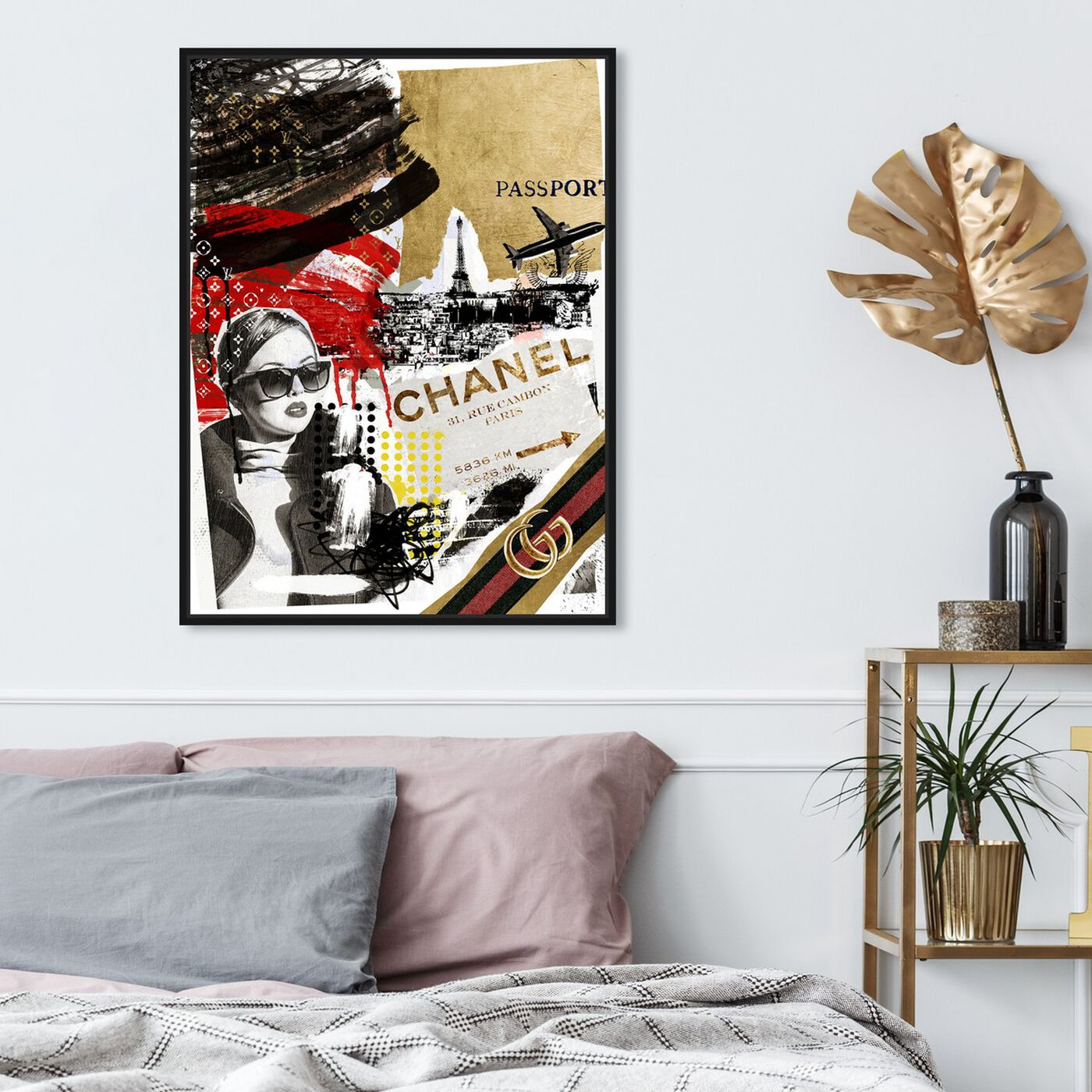 Hanging view of Passport to Paris featuring fashion and glam and travel essentials art.