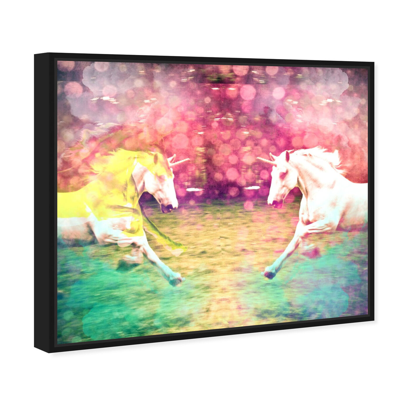 Angled view of Unicorns Dusk featuring fantasy and sci-fi and fantasy creatures art.