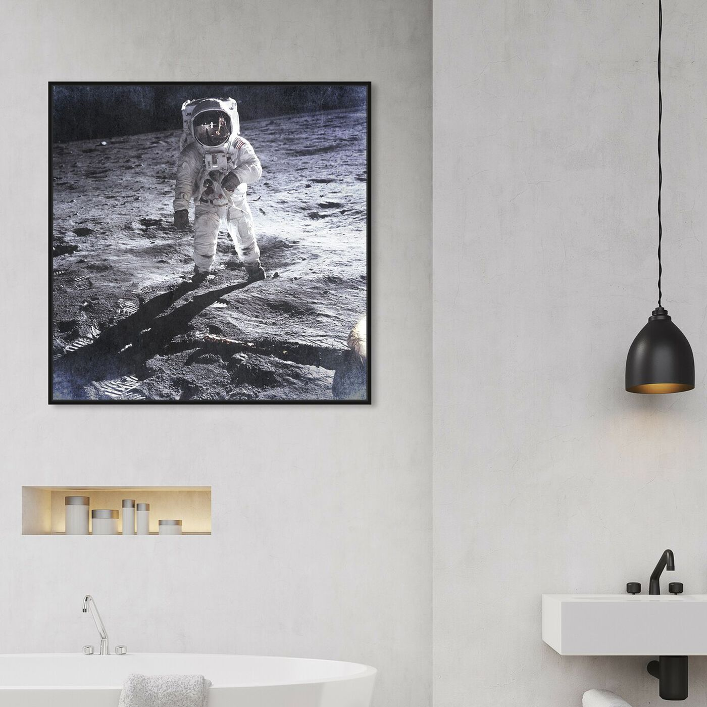 Hanging view of Man on the Moon featuring people and portraits and professions art.