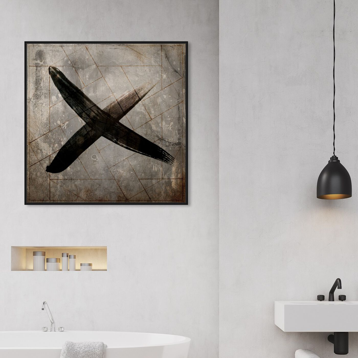 Hanging view of Cross featuring symbols and objects and shapes art.