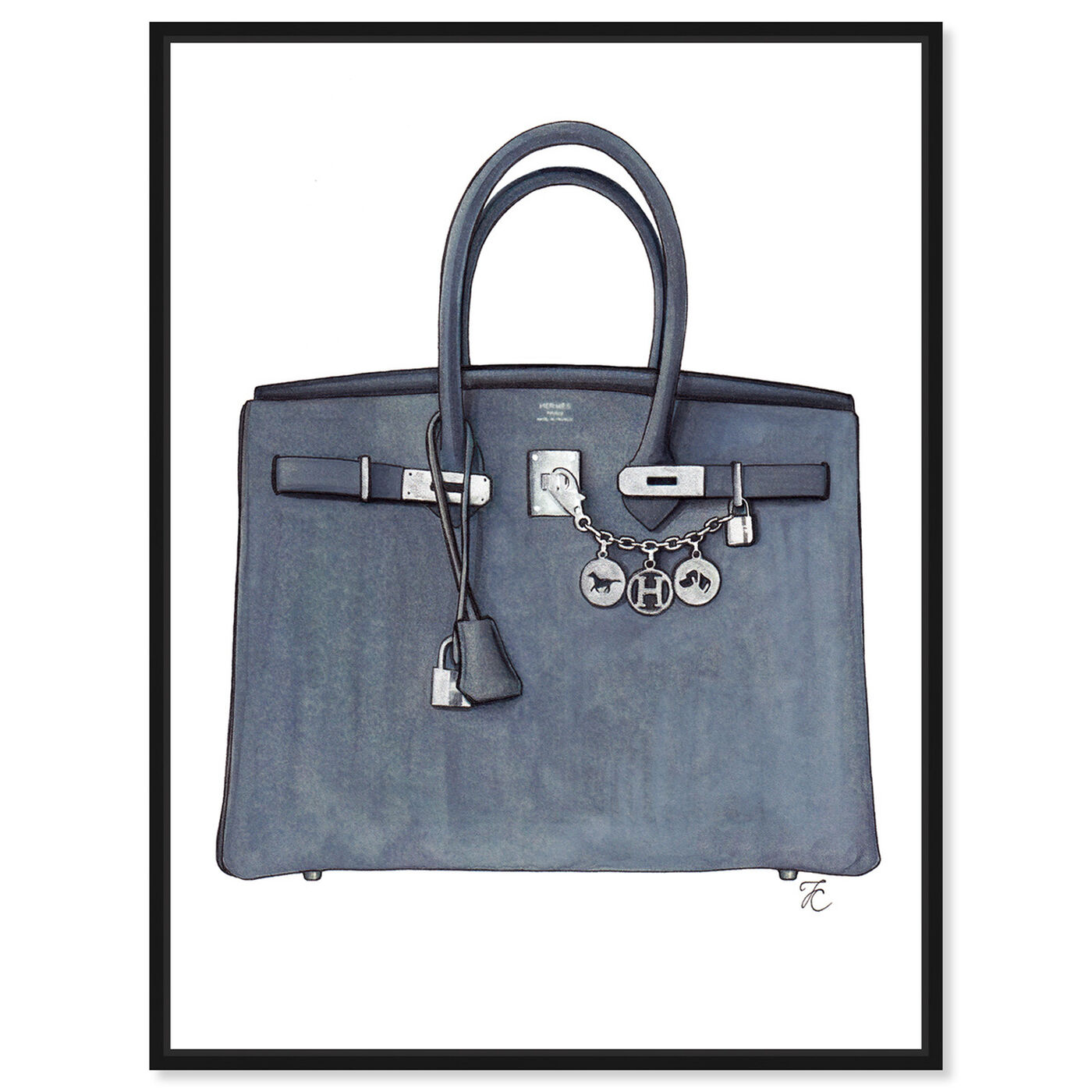Front view of Doll Memories - Grey Memories Bag featuring fashion and glam and handbags art.