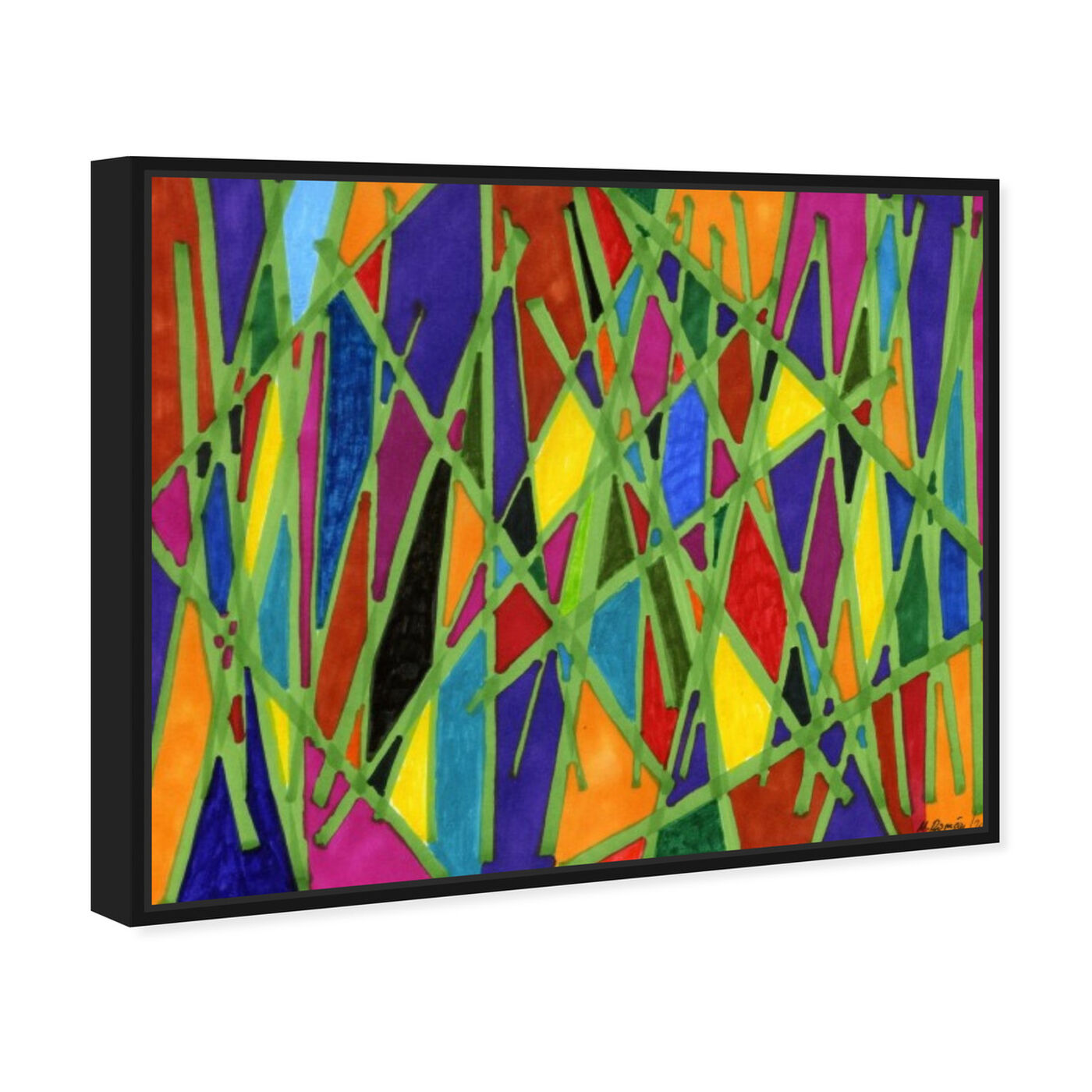 Angled view of Bamboo Jungle featuring abstract and geometric art.