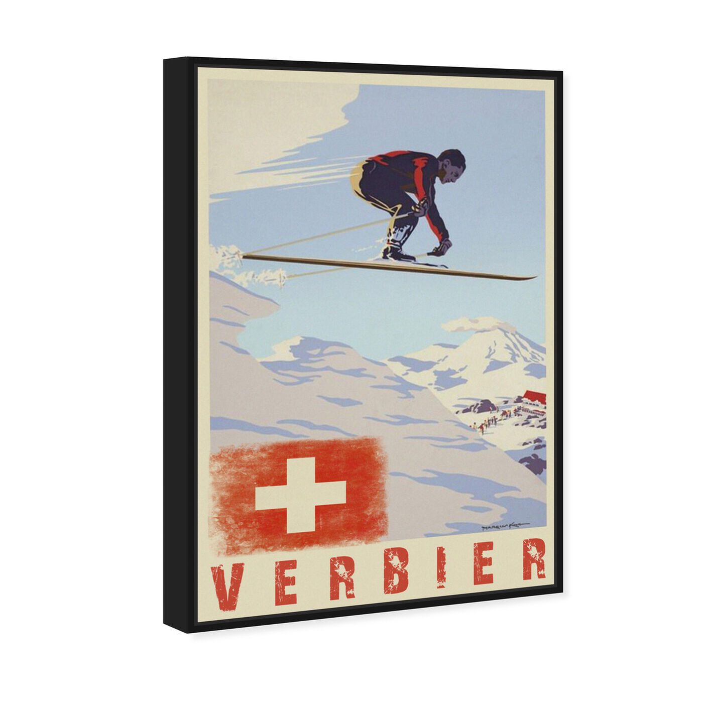 Angled view of Verbier featuring advertising and posters art.