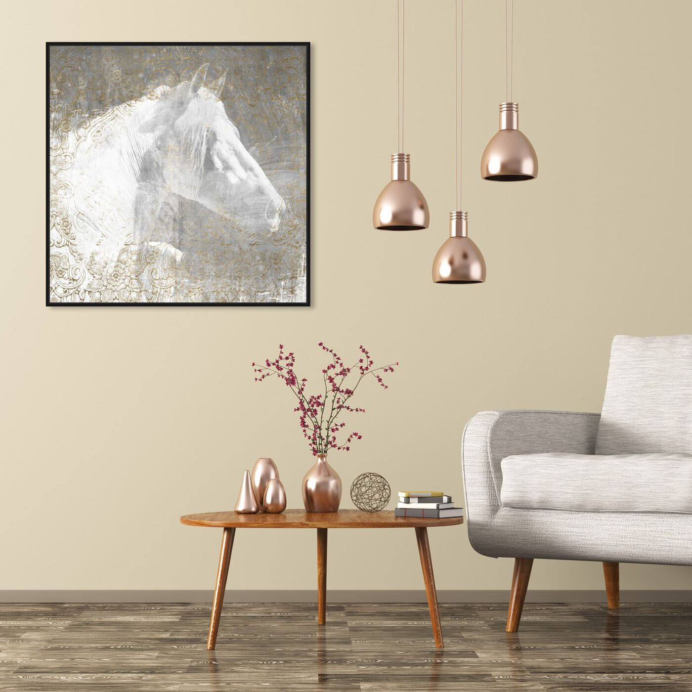 Hanging view of Lone Blanc Horse featuring animals and farm animals art.