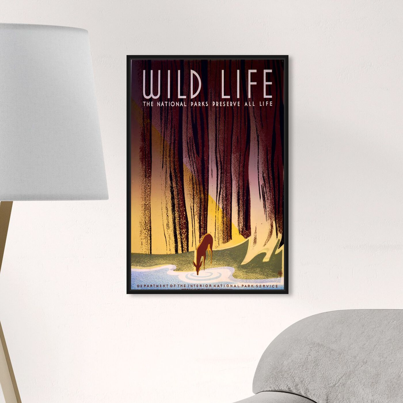 Hanging view of Preserve America's Wildlife featuring advertising and posters art.