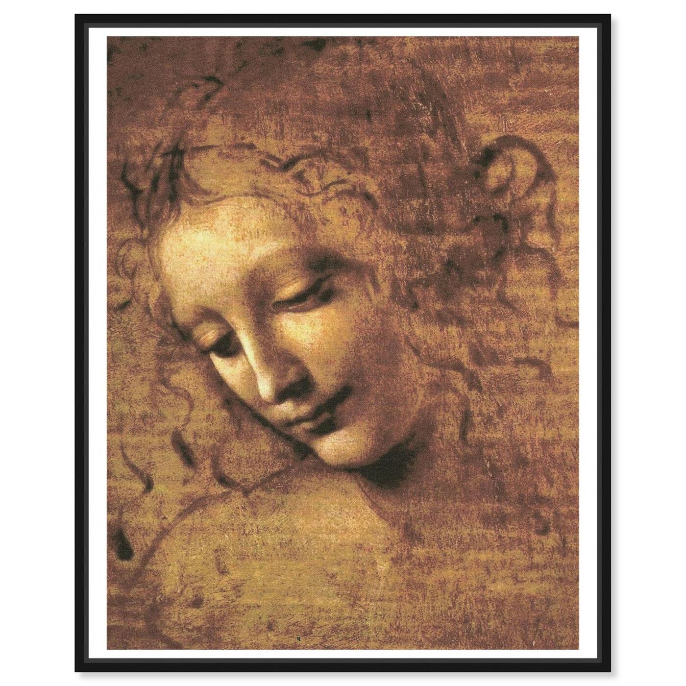 Front view of Leonardo Da Vinci - Female Head featuring classic and figurative and renaissance art.