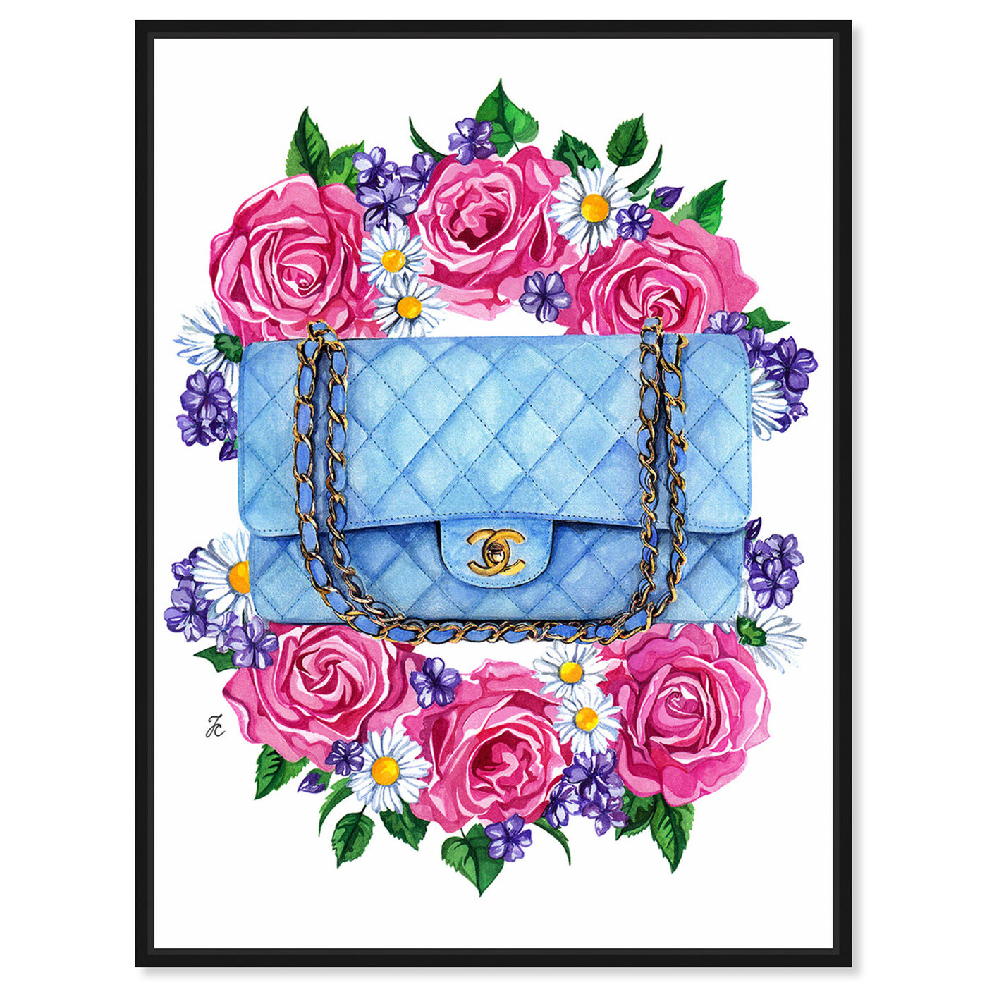 Front view of Doll Memories - Pastel Blues featuring fashion and glam and handbags art.