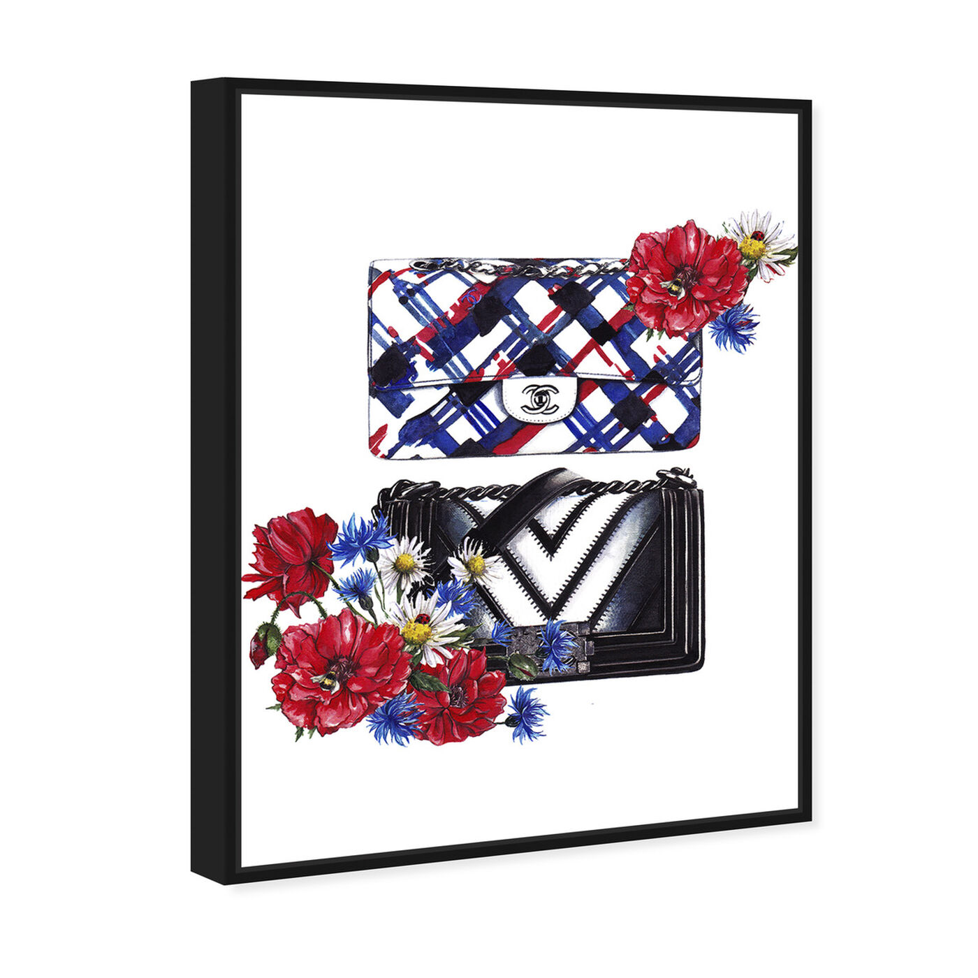 Angled view of Doll Memories - Bags Floral featuring fashion and glam and handbags art.