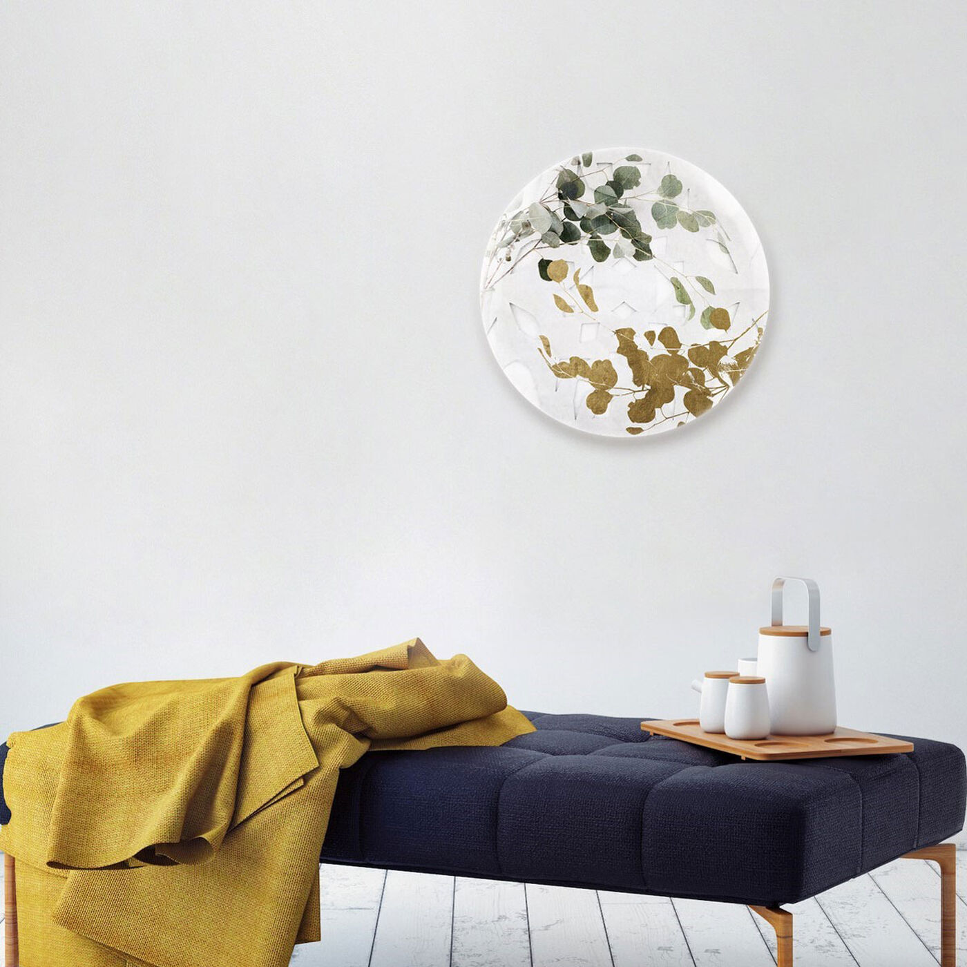 Hanging view of Golden Leaves Circle featuring floral and botanical and botanicals art.