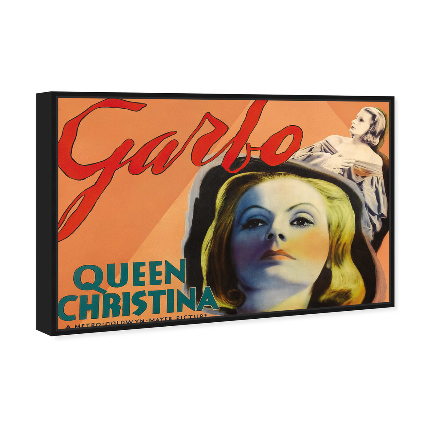 Angled view of Garbo featuring advertising and posters art.