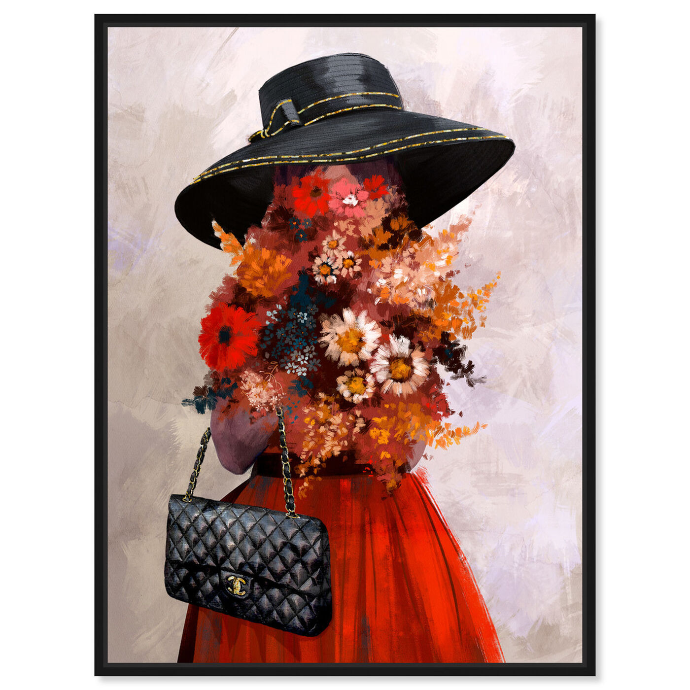 Front view of Field of Flowers featuring fashion and glam and handbags art.