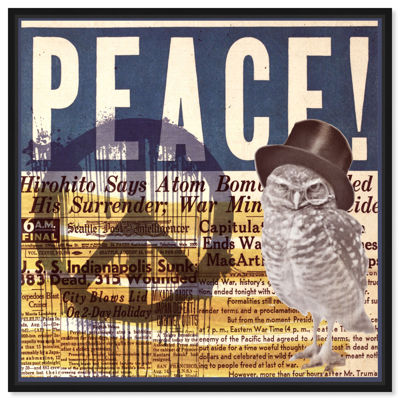 Front view of Peace! featuring advertising and posters art.