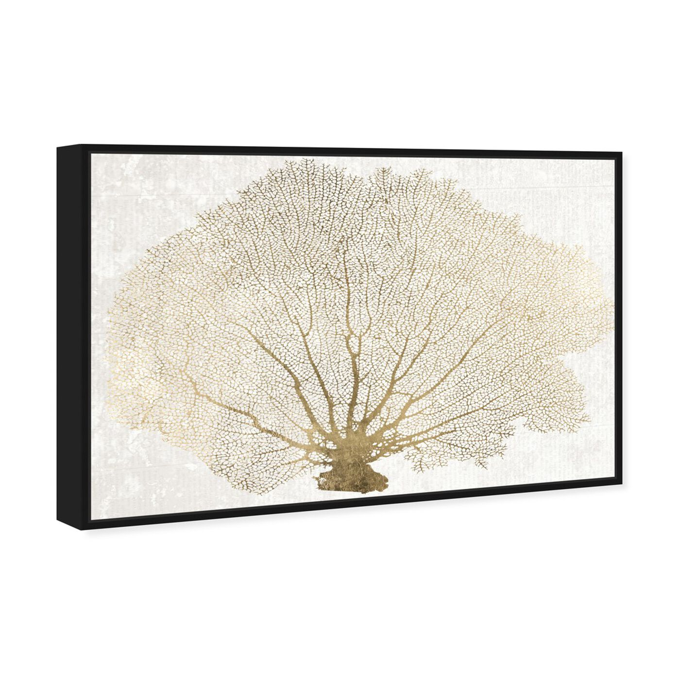 Angled view of Gold Coral Fan featuring nautical and coastal and marine life art.