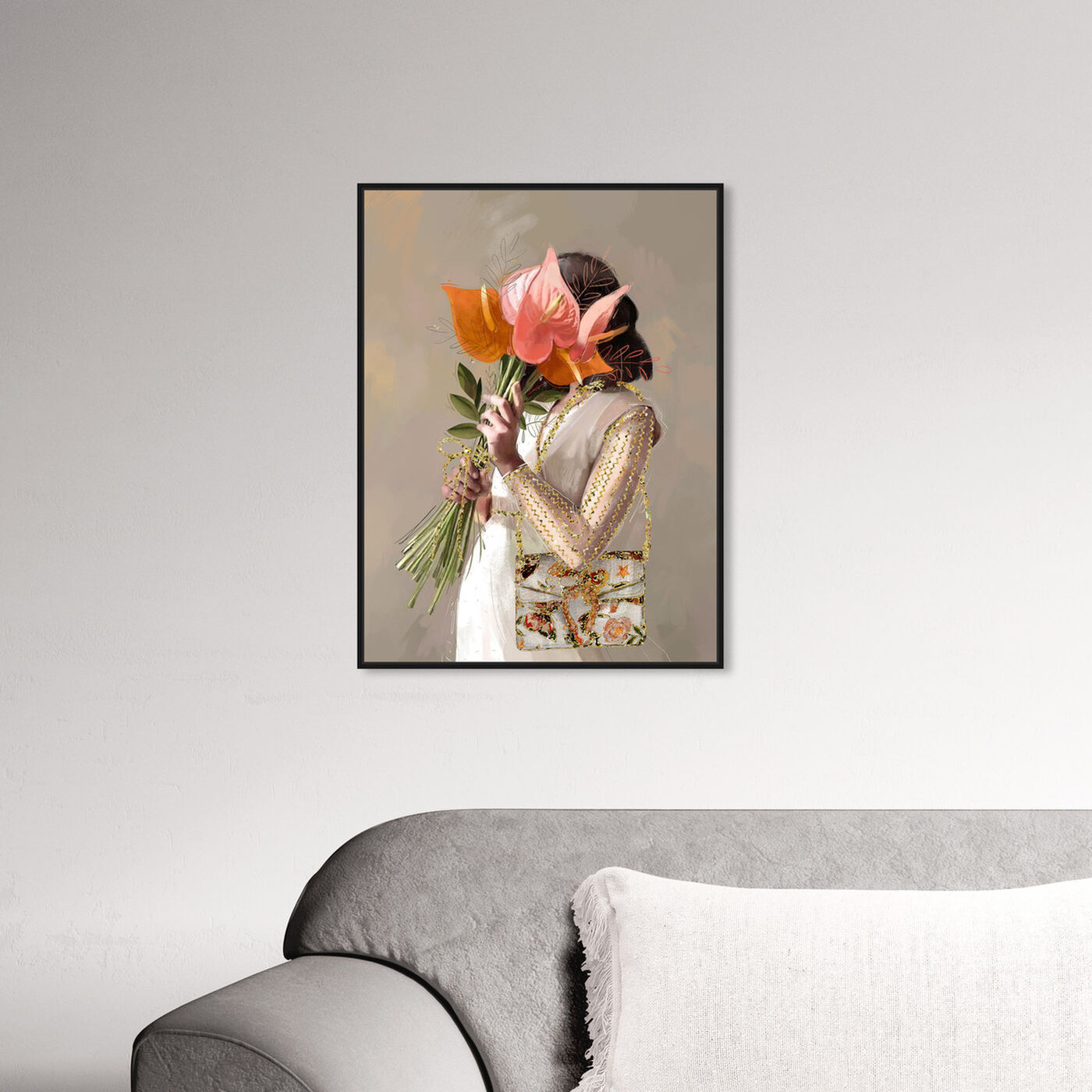 Hanging view of Lilies for Her featuring floral and botanical and florals art.