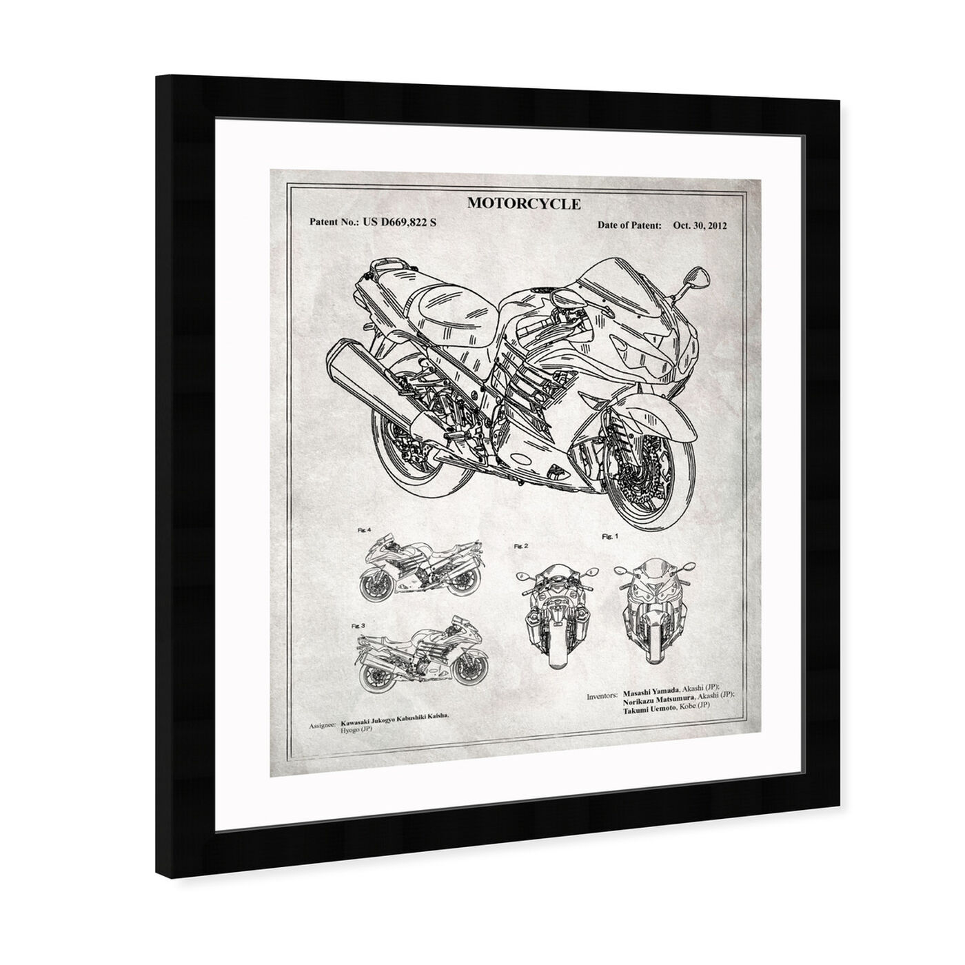 Angled view of Motorcycle 2012 - Grey featuring transportation and motorcycles art.