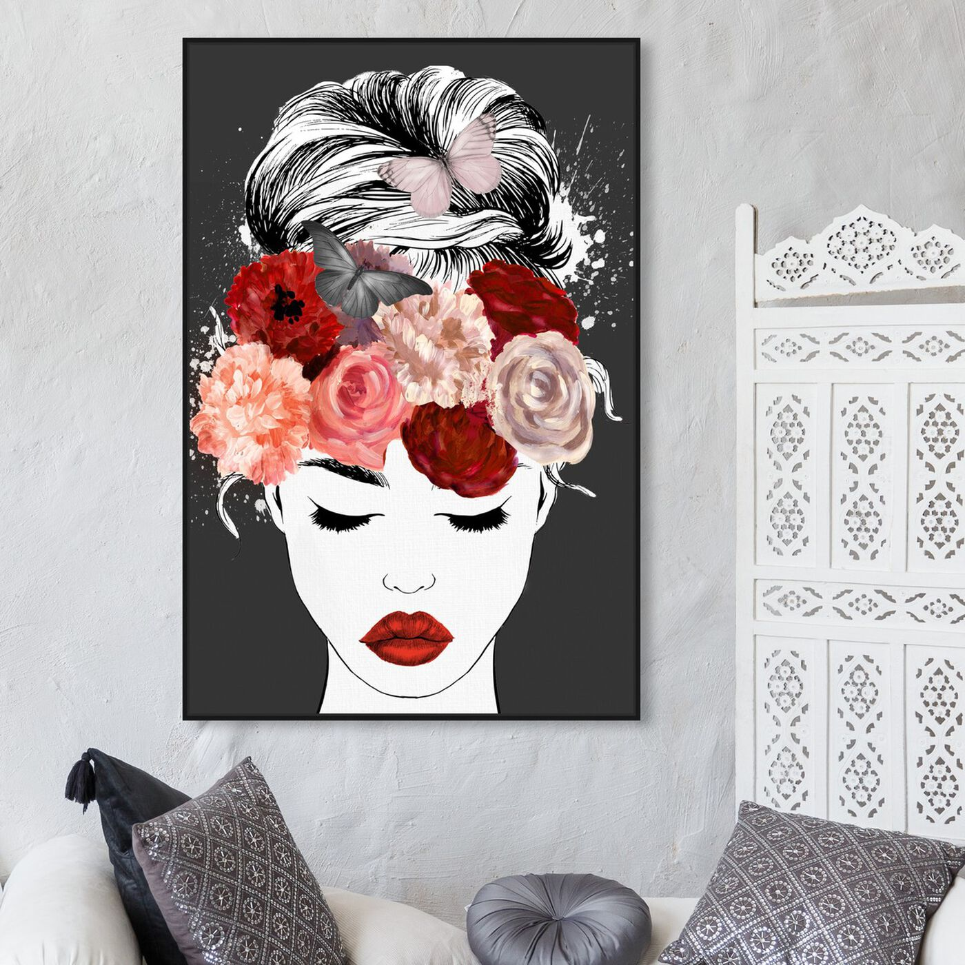 Hanging view of Butterflies in My Head Red featuring animals and insects art.