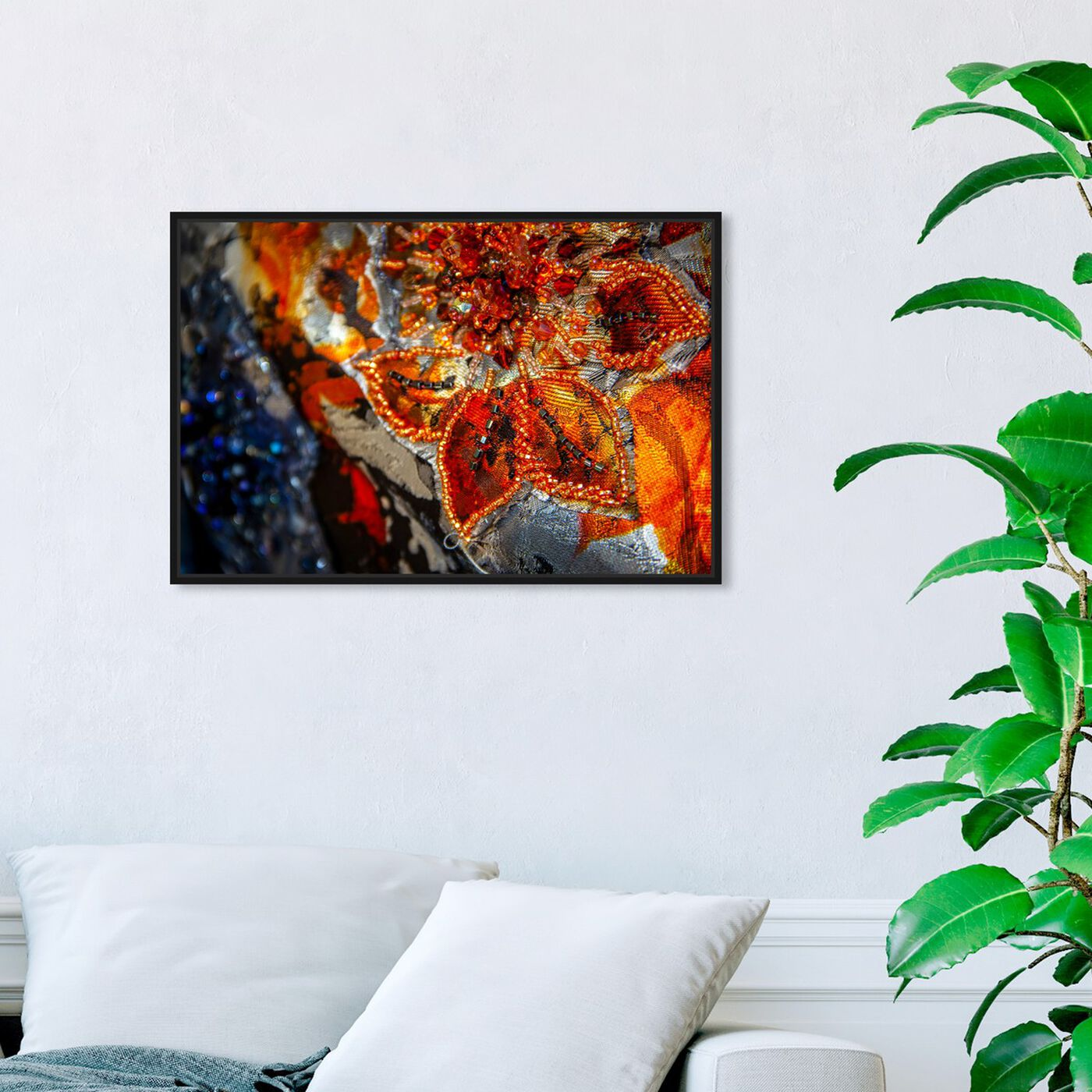 Hanging view of Mark Zunino - Amber Floral Tapestry featuring fashion and glam and fashion art.