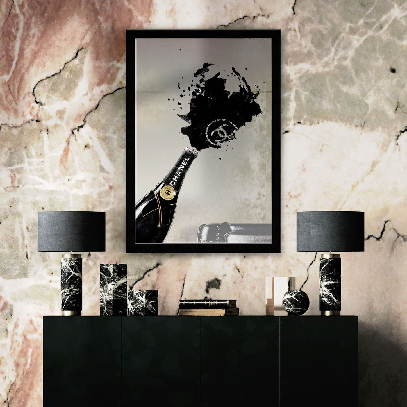 Hanging view of Noir Champagne Mirror featuring fashion and glam and lifestyle art.