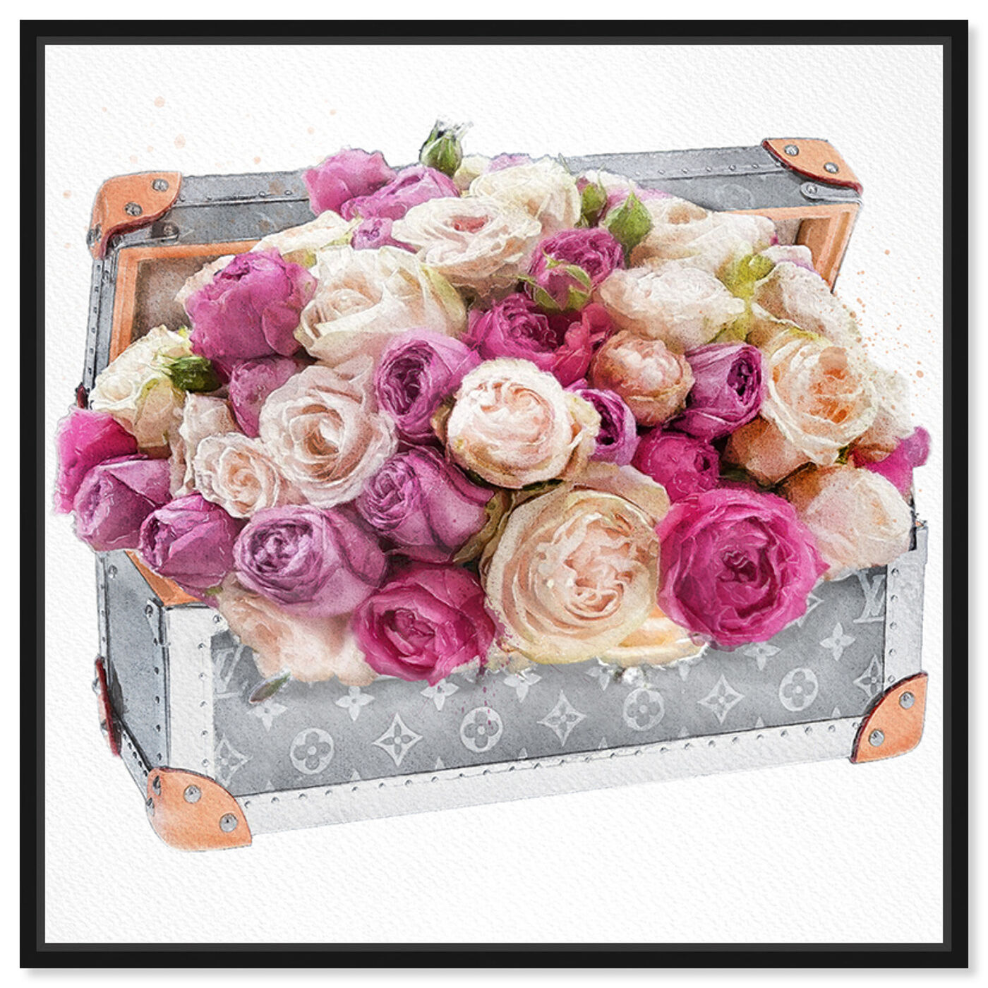 Front view of Rose Dreaming Trunk featuring floral and botanical and florals art.