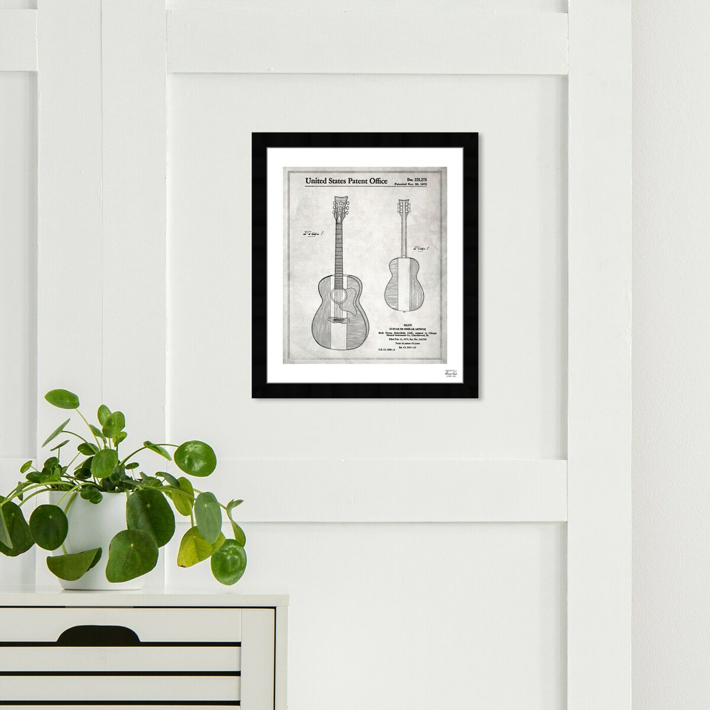 Hanging view of Buck Owens Guitar 1972 I featuring music and dance and music instruments art.