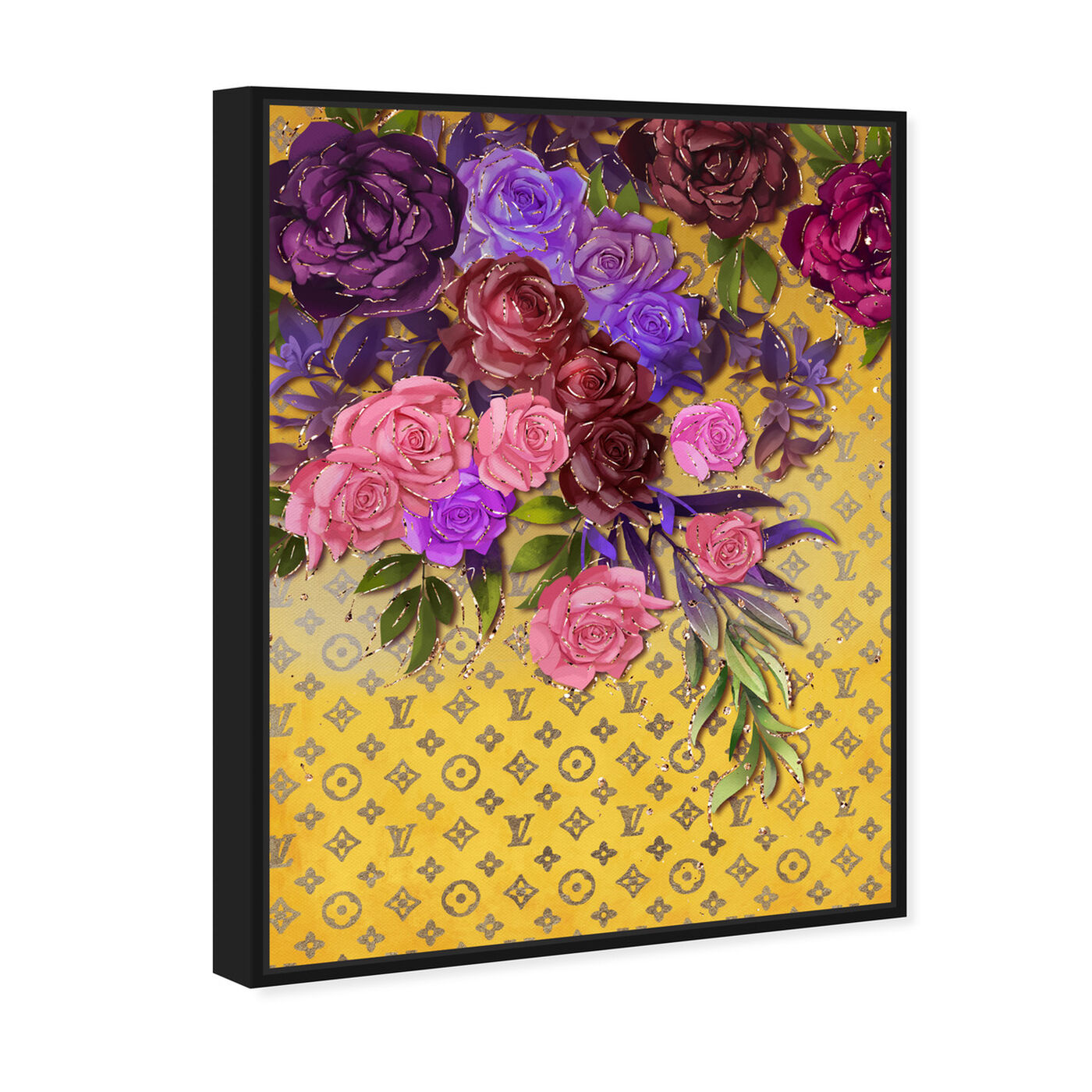 Angled view of Roses Fashion Monogram featuring floral and botanical and florals art.
