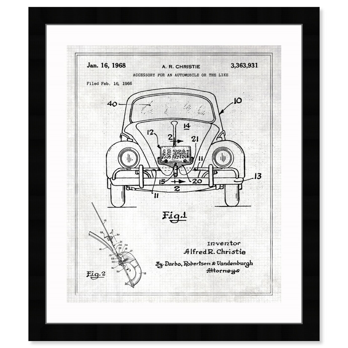 Front view of Accessory For An Automobile 1968 featuring transportation and automobiles art.