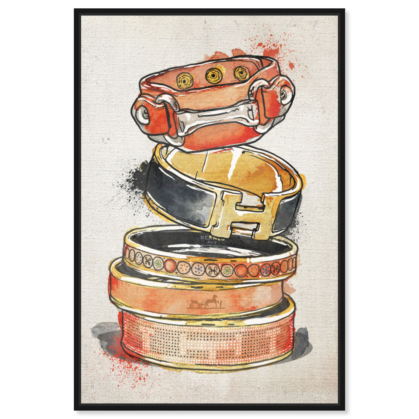 Front view of Arm Candy Watercolor I featuring fashion and glam and jewelry art.