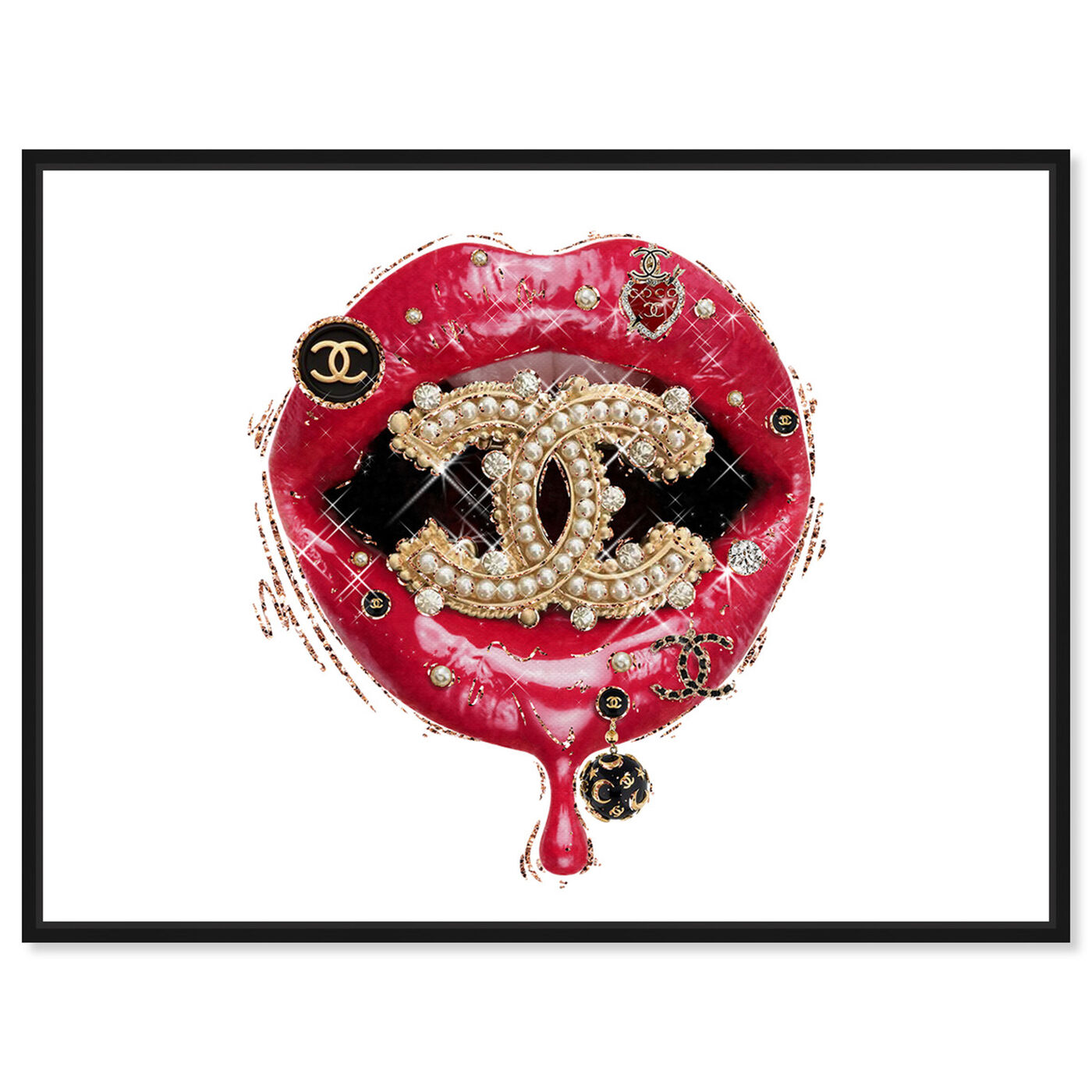 Front view of Your Intense Red Lips featuring fashion and glam and lips art.