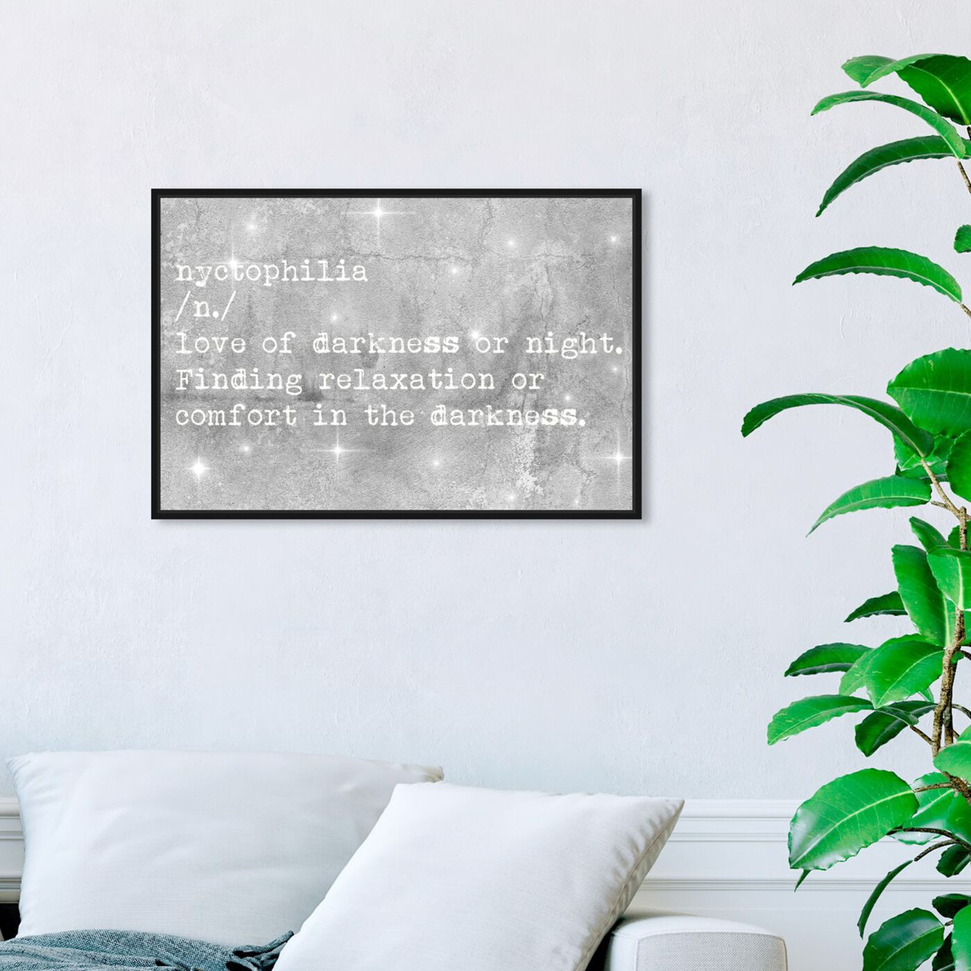 Hanging view of Nychtophilia featuring typography and quotes and quotes and sayings art.