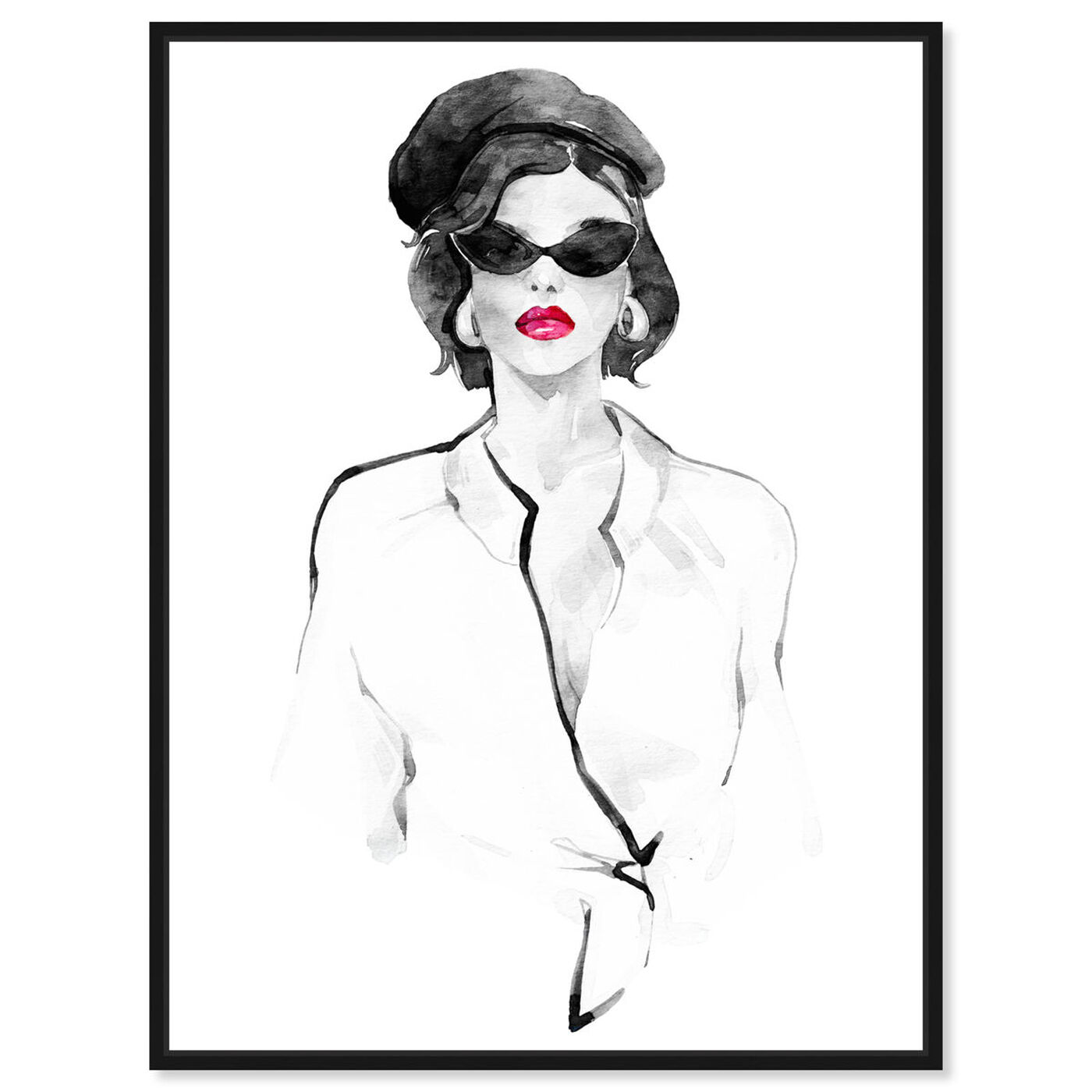 Front view of French Beret and Ready Mono featuring fashion and glam and lips art.