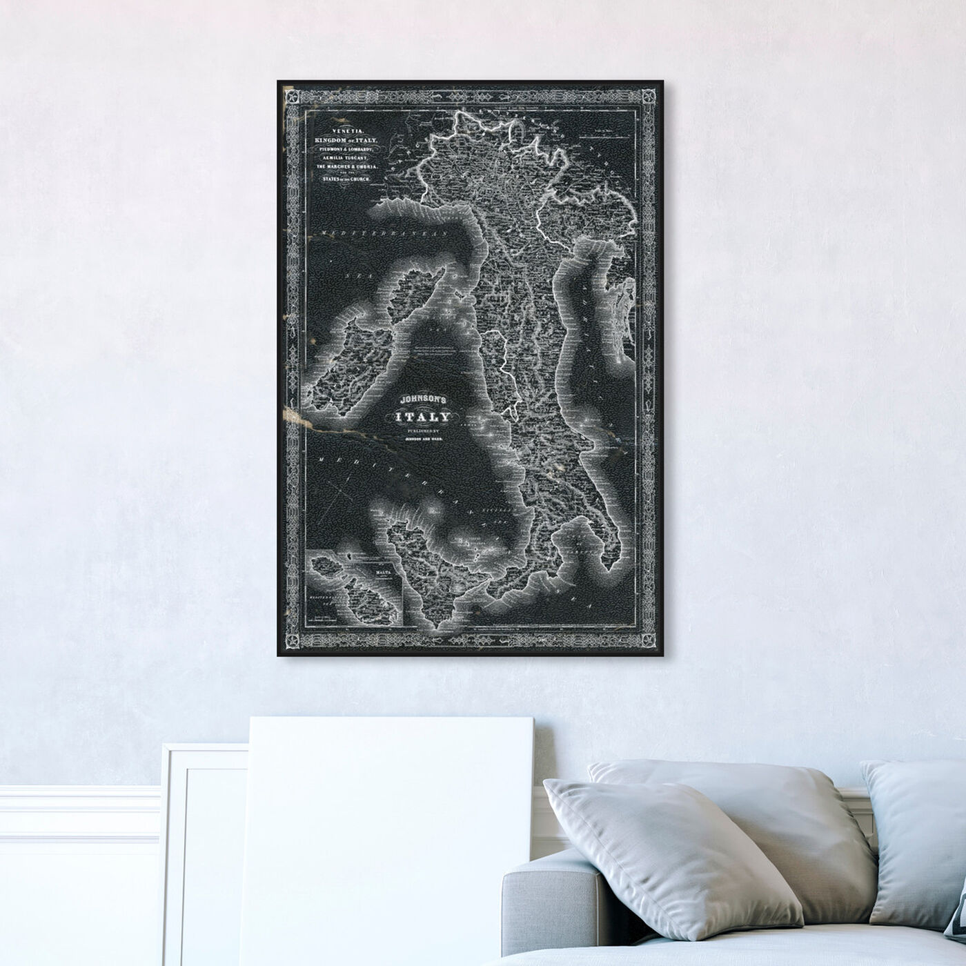 Hanging view of Italy Map 1866 featuring maps and flags and european countries maps art.