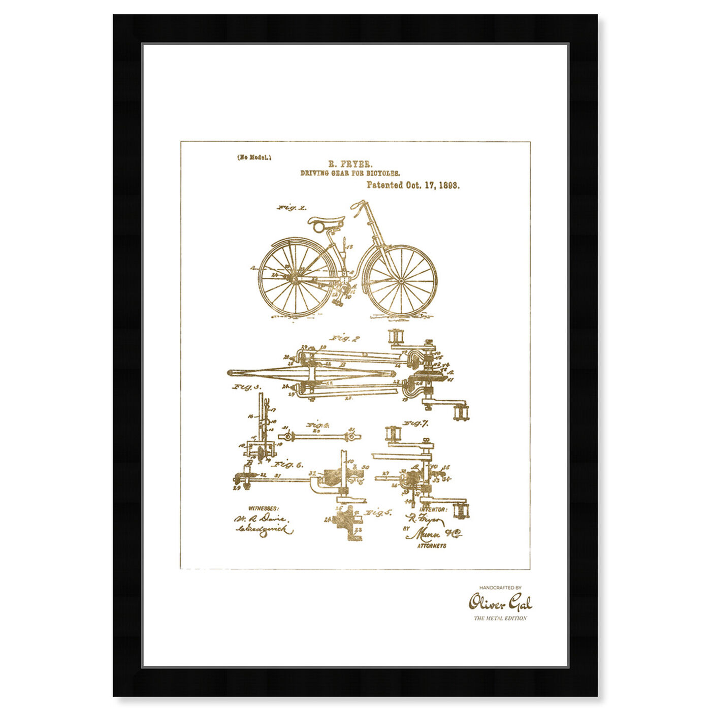 Front view of Fryer Driving Gear for Bicycle 1893 Gold featuring transportation and bicycles art.