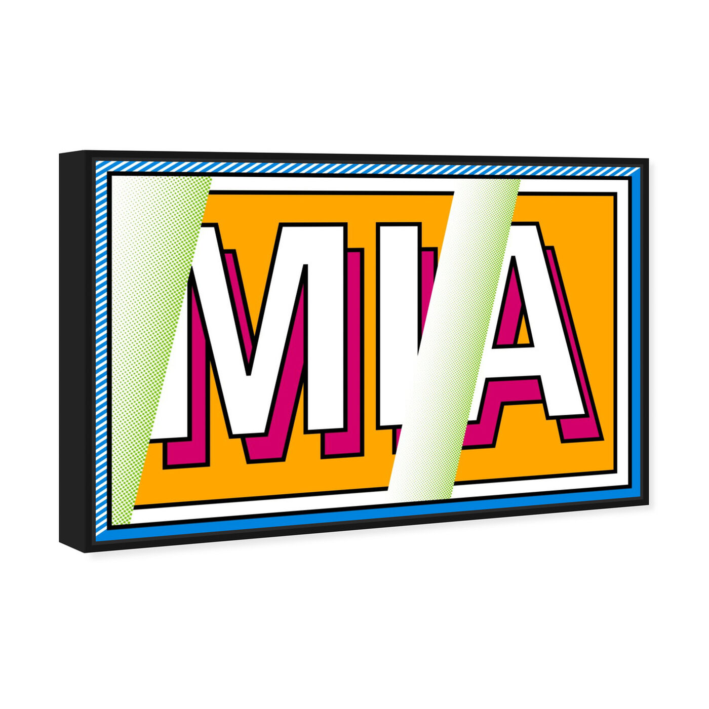 Angled view of M-I-A featuring advertising and comics art.