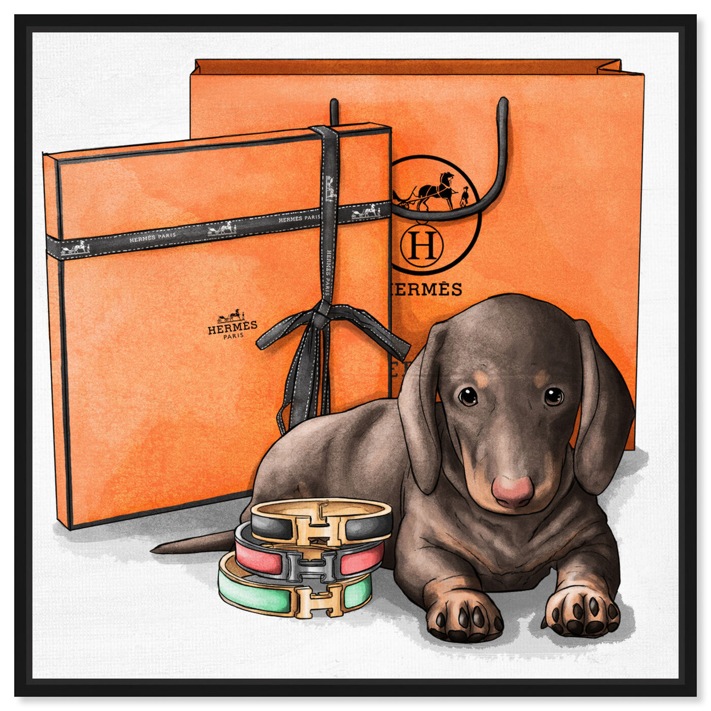 Front view of Fancy Doxie featuring animals and dogs and puppies art.