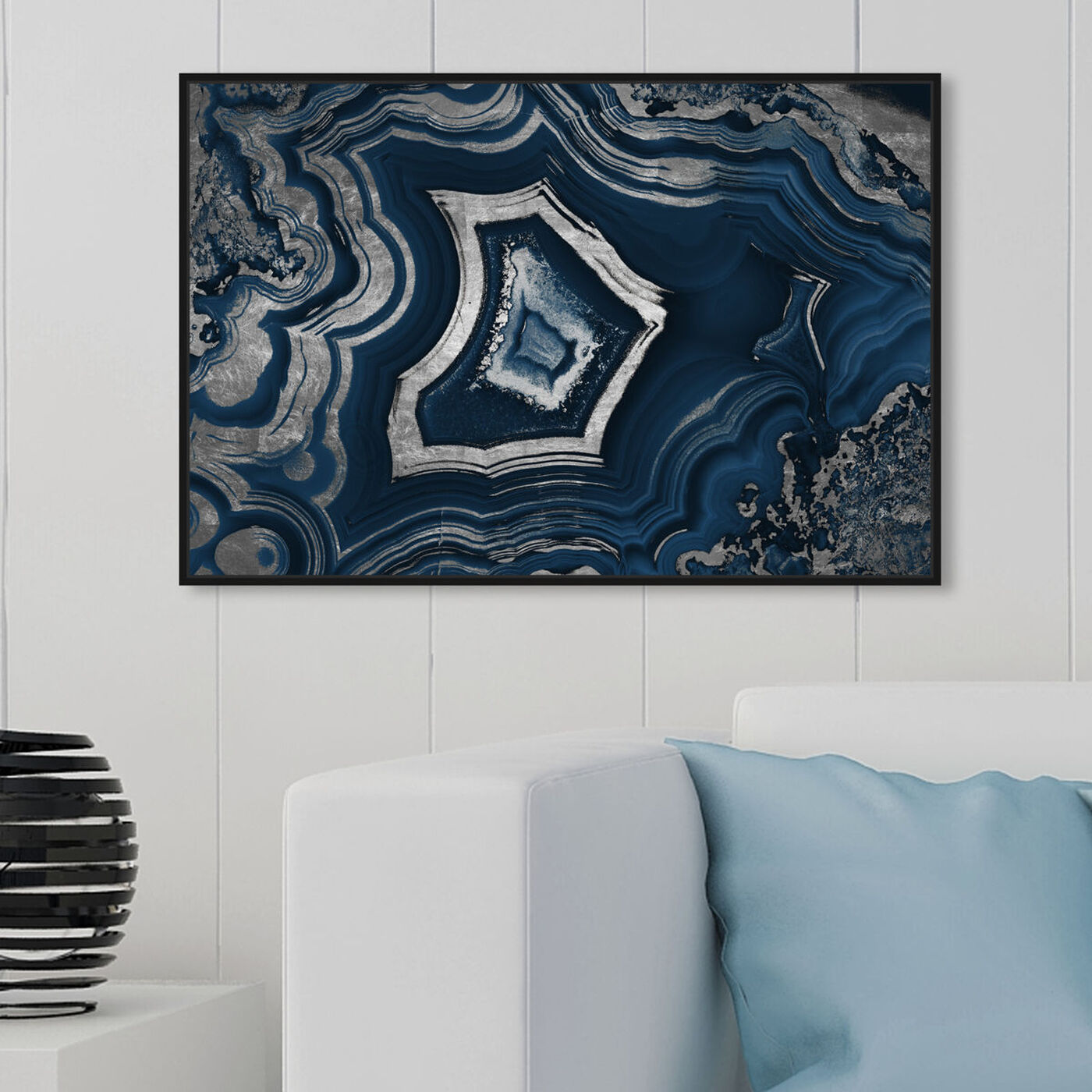 Hanging view of Dreaming About You Geode Navy featuring abstract and crystals art.