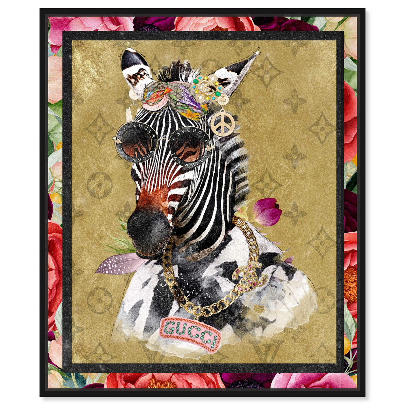 Front view of Luxe Aunt Portrait featuring animals and zoo and wild animals art.