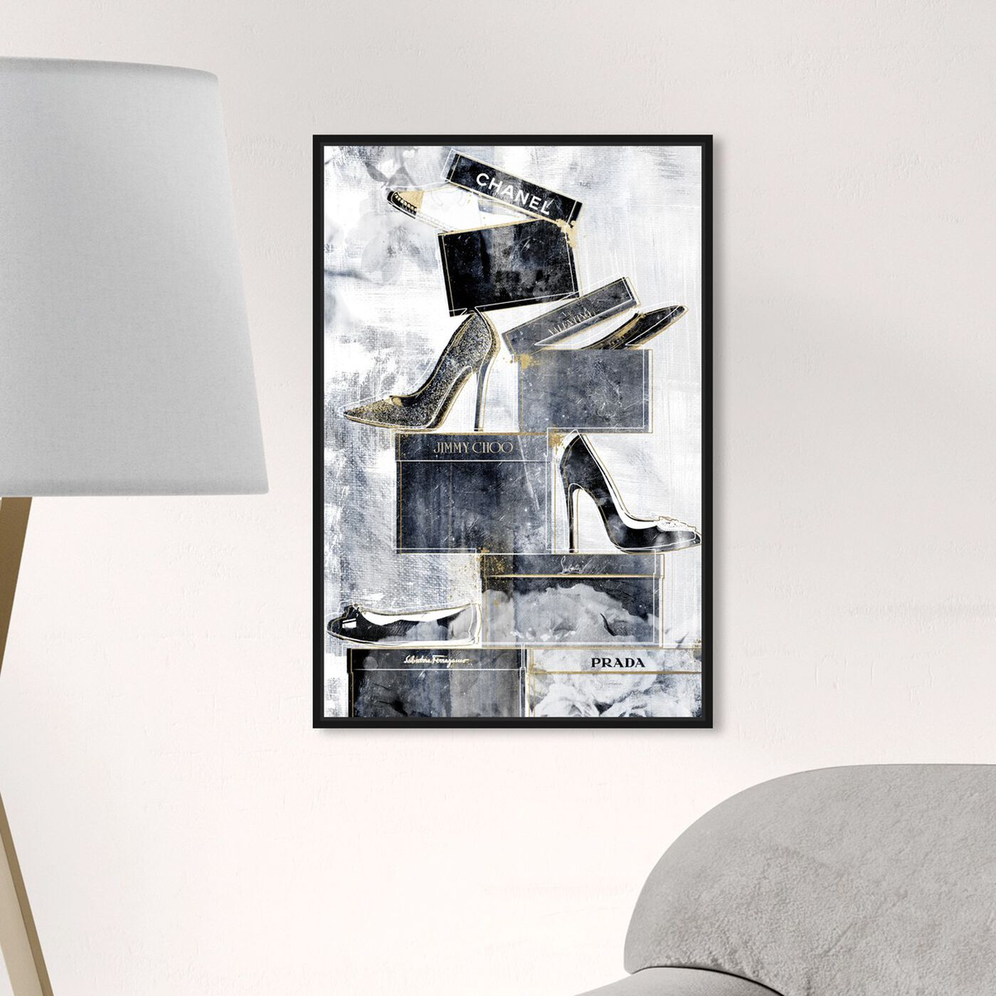 Hanging view of Shoes Always on My Mind Blue featuring fashion and glam and shoes art.
