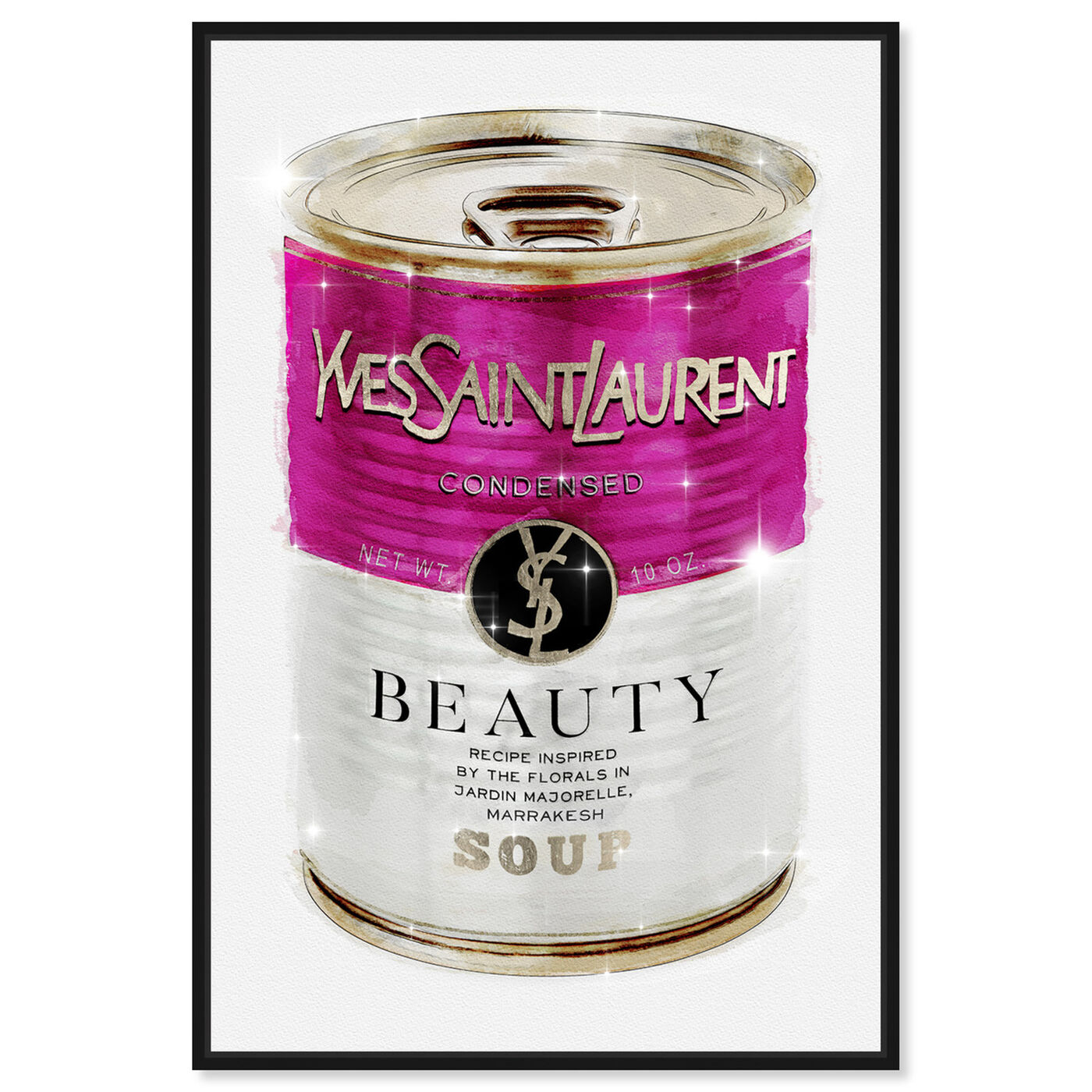 Front view of Yves Beauty SOUP CAN featuring fashion and glam and soup can art.