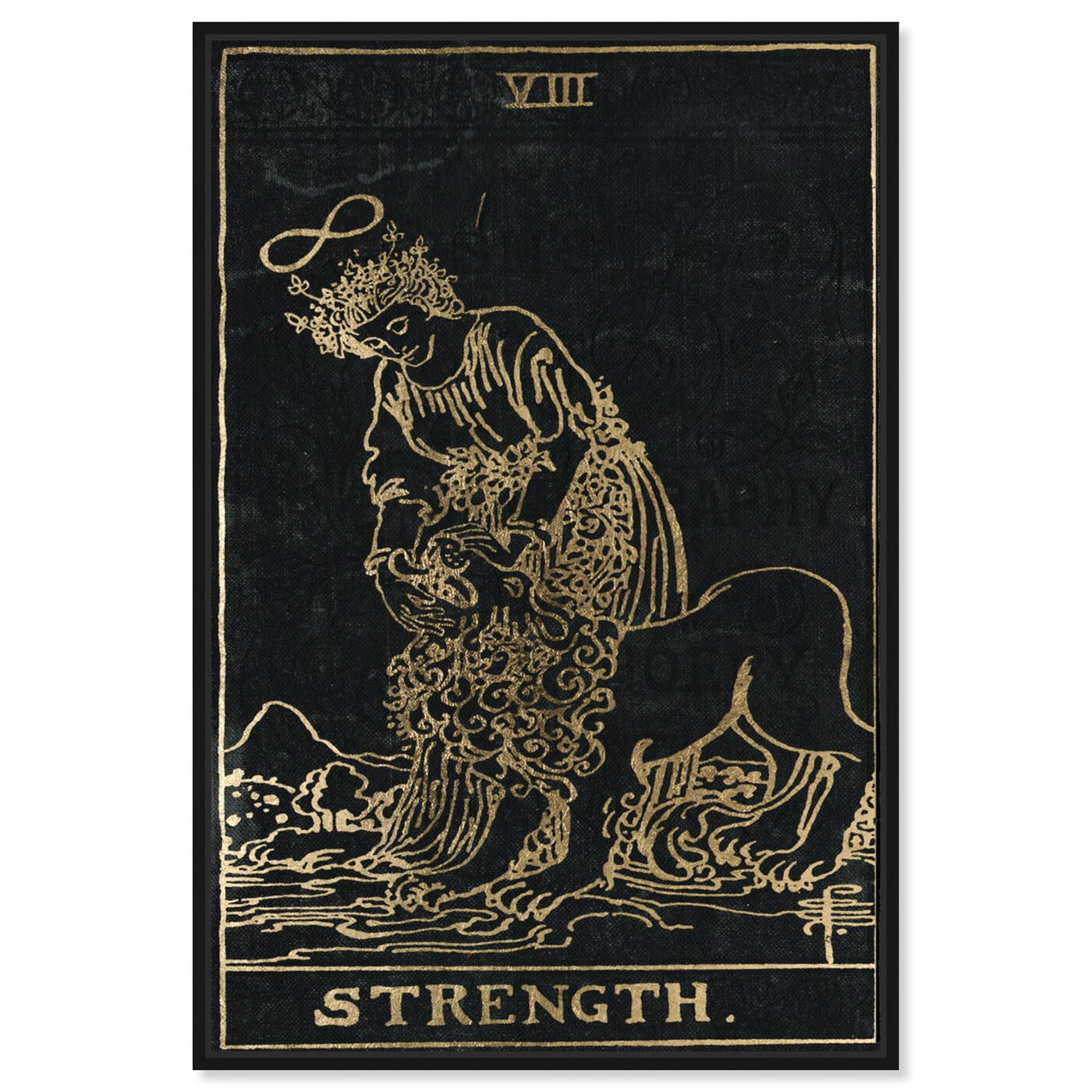 Front view of Strength Tarot featuring spiritual and religious and zodiac art.