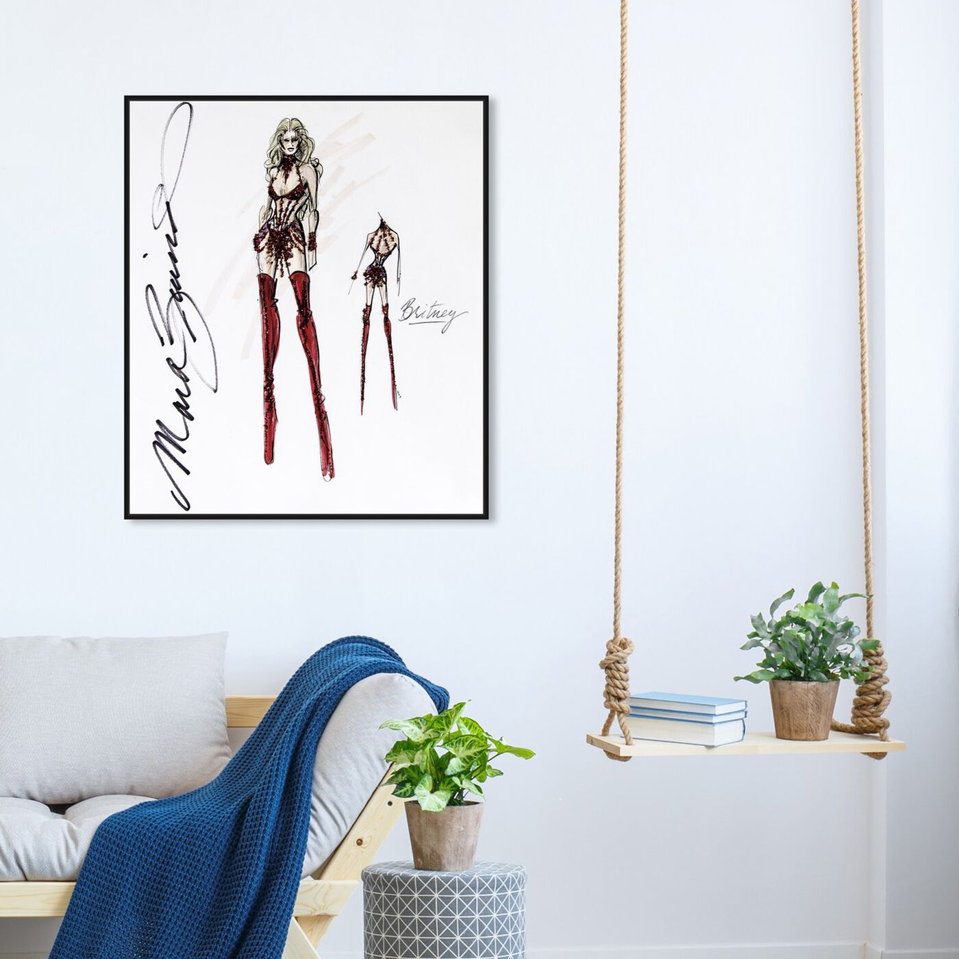 Hanging view of Mark Zunino - Diva Britney featuring fashion and glam and sketches art.