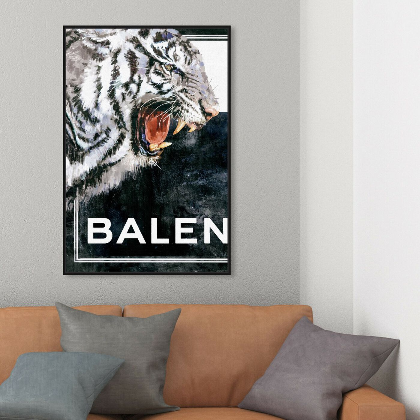 Hanging view of Tiger Effect Symbol I featuring animals and felines art.