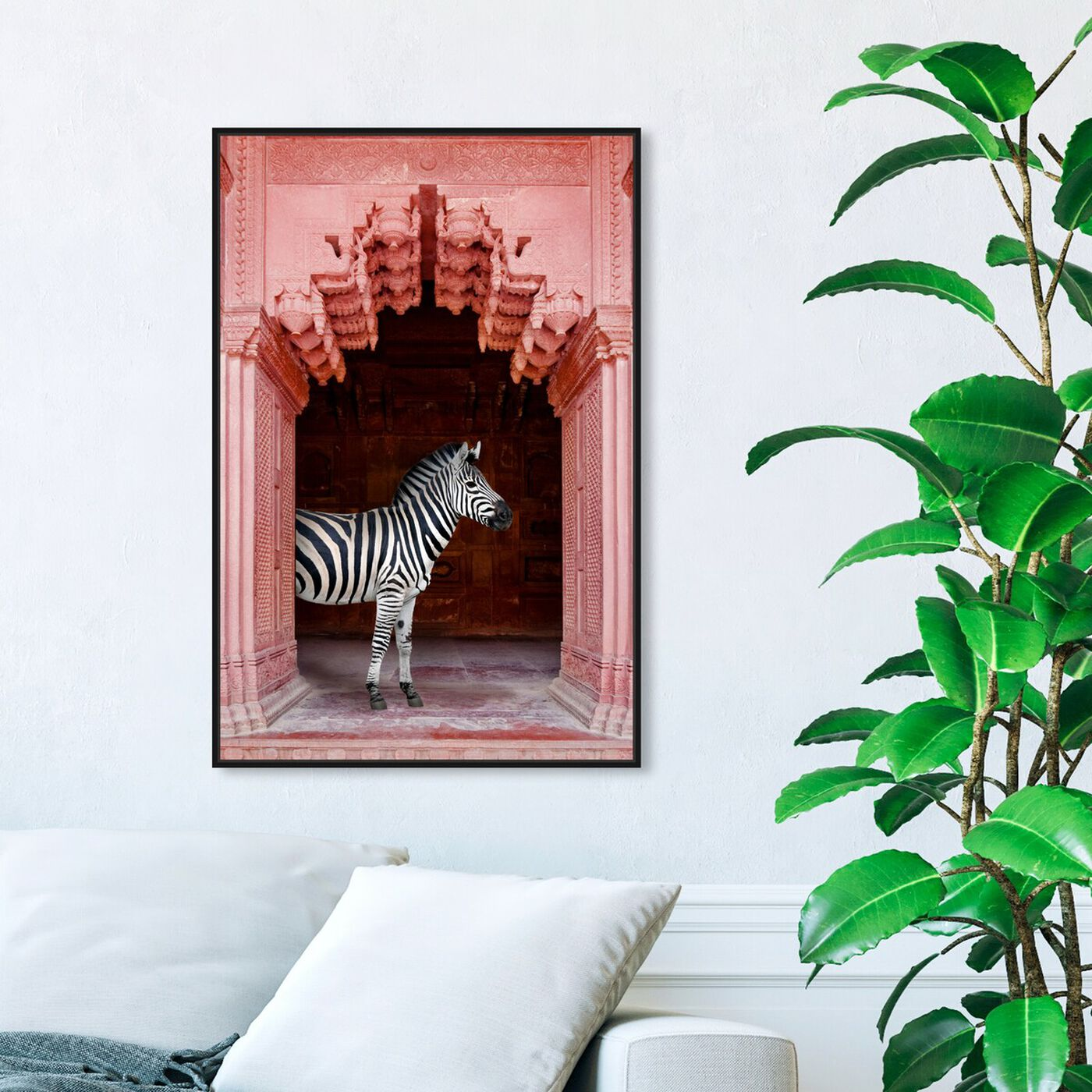 Hanging view of Zebras Apartment is Coral Pink featuring animals and zoo and wild animals art.