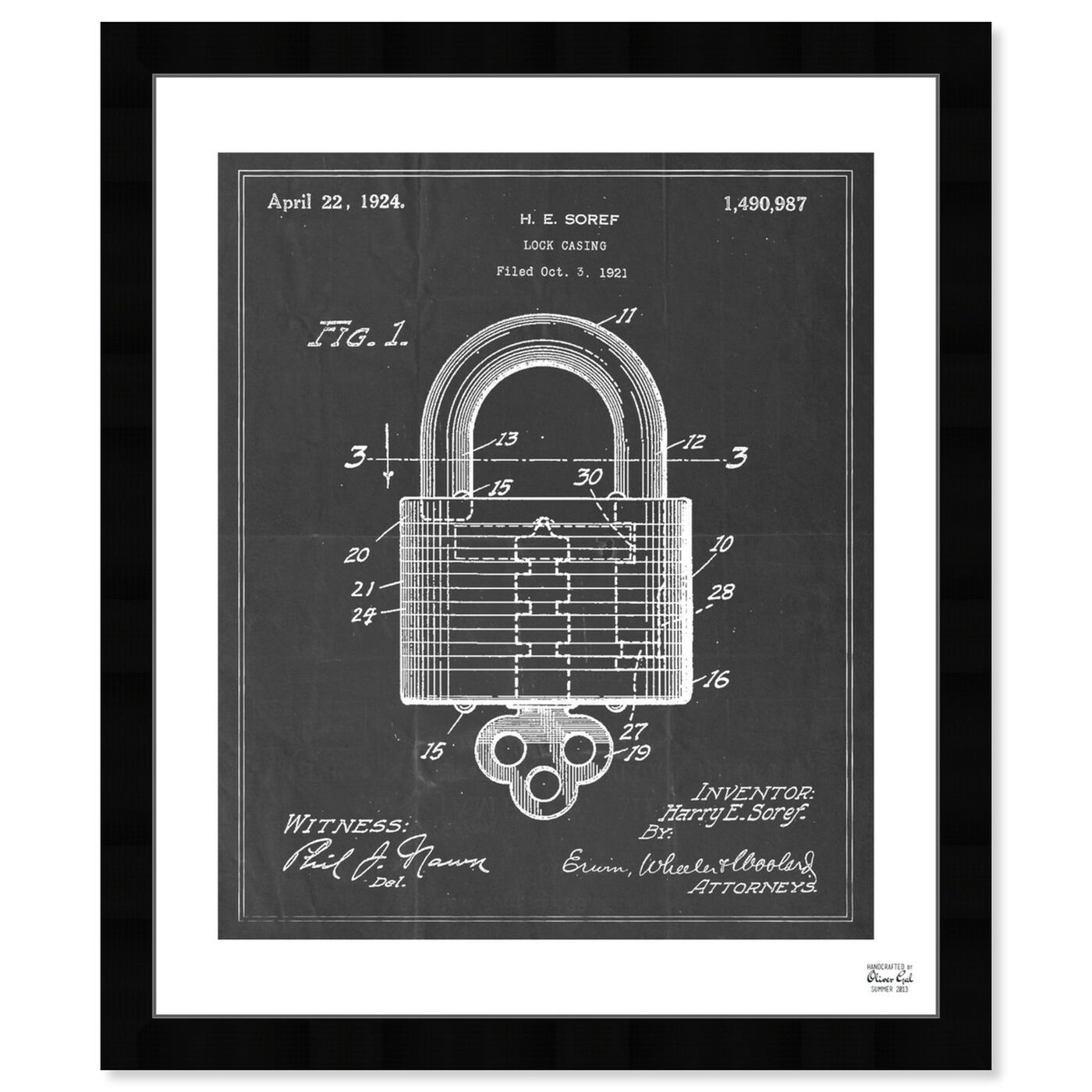 Front view of Lock Casing 1921 featuring symbols and objects and shapes art.